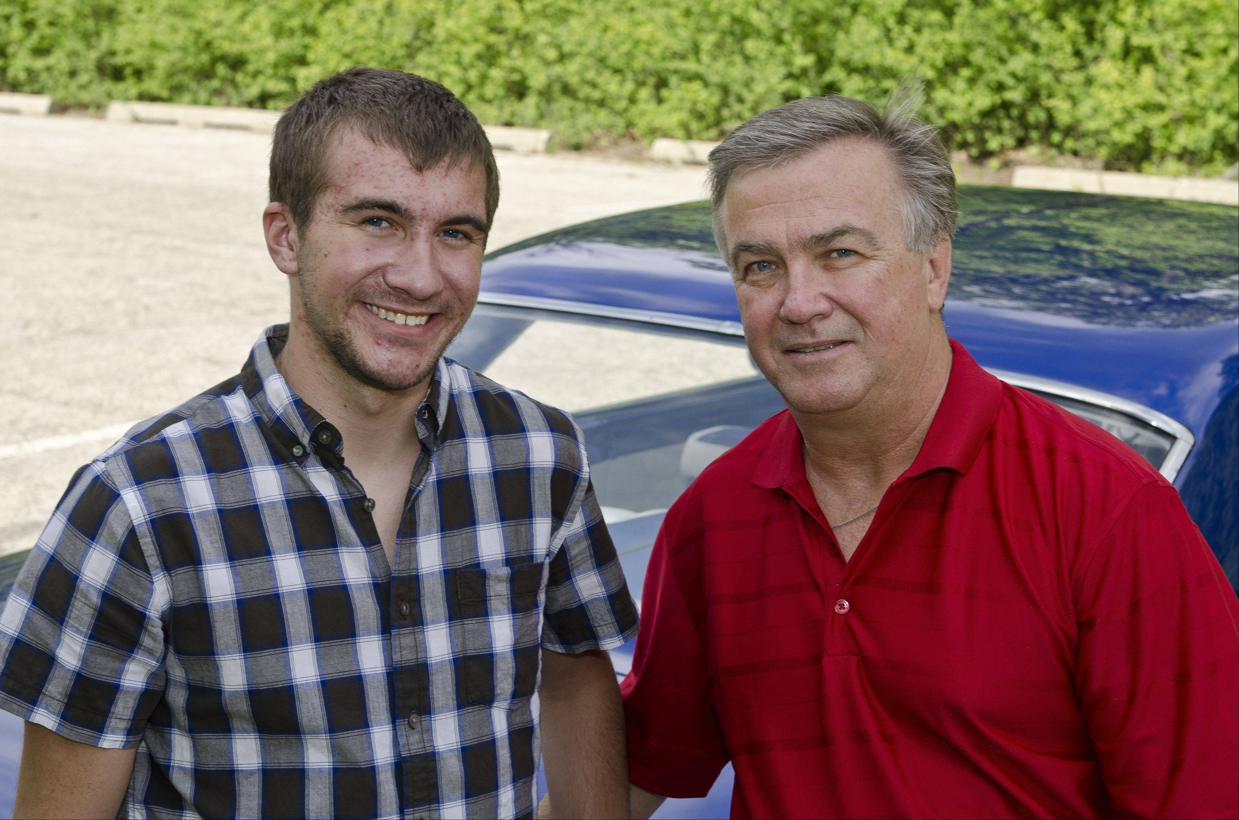 Tyler and Gerry Dziedzina of Palatine prefer the longer lines of the 1966 Chevrolet Nova compared to later models.