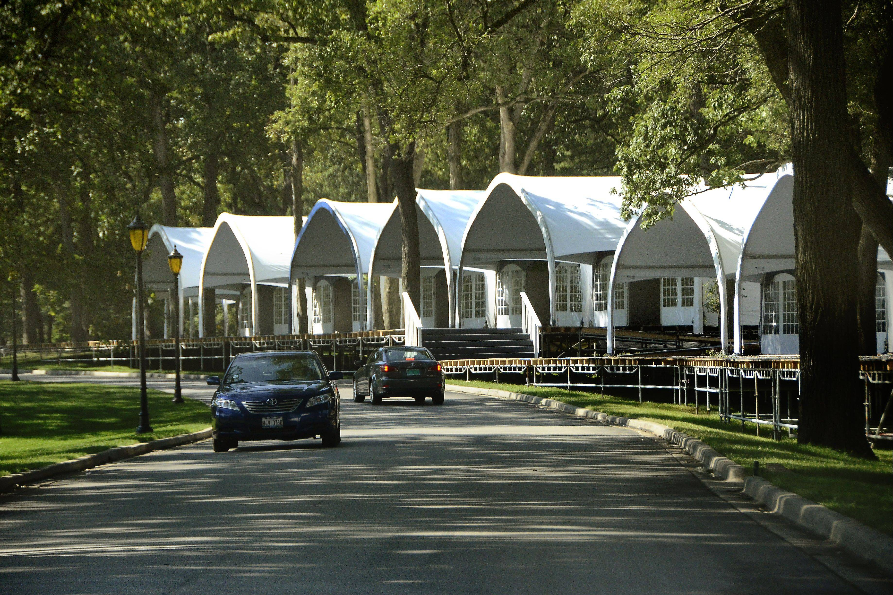Seventy-six corporate hospitality tents have been built at Medinah Country Club in preparation for the Ryder Cup next month.