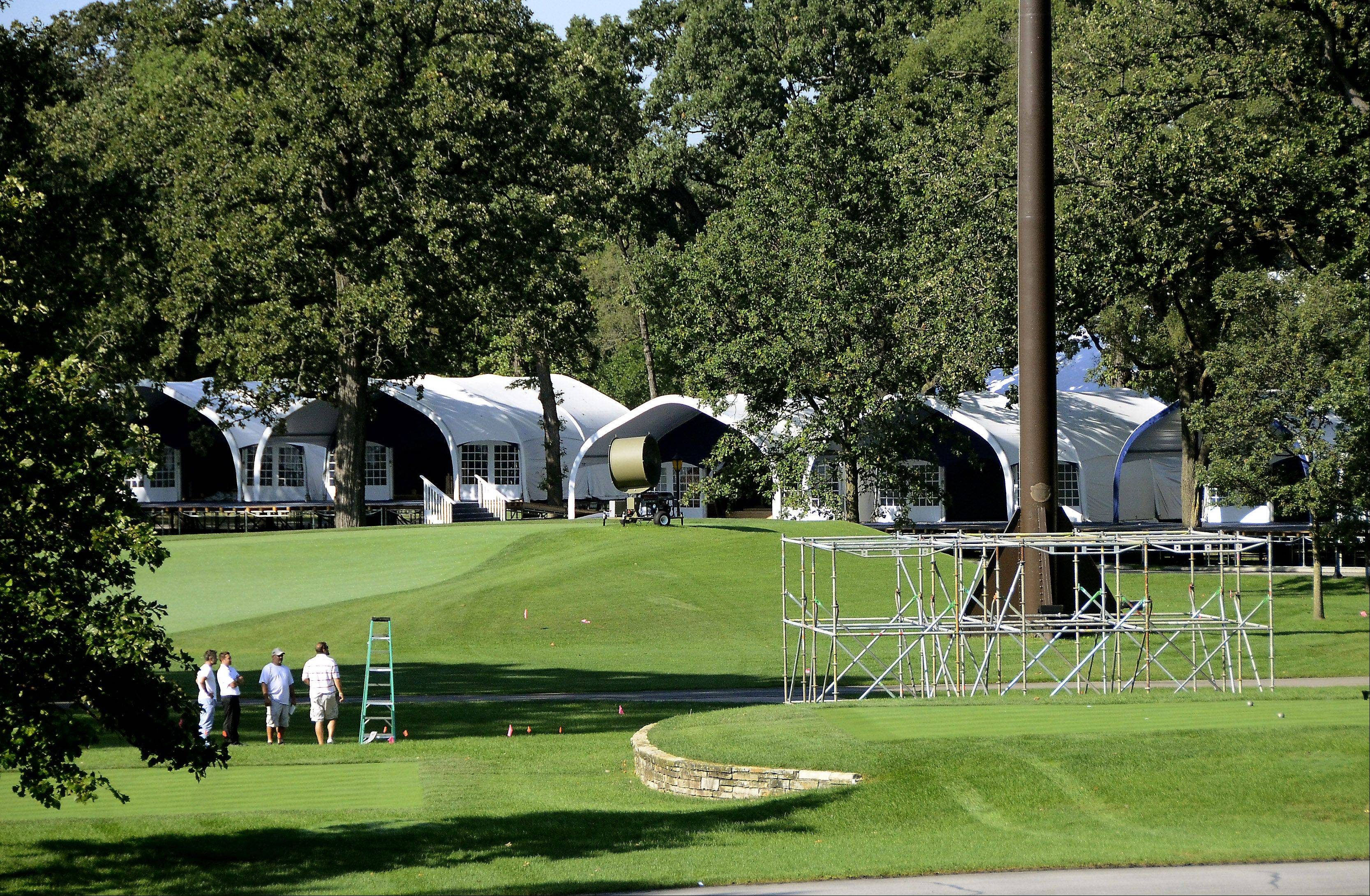 "Putting up the event's 76 corporate hospitality tents took four months. ""You can build some pretty significant buildings and homes quicker than you can build a Ryder Cup site,"" said Ryder Cup Director Michael Belot."