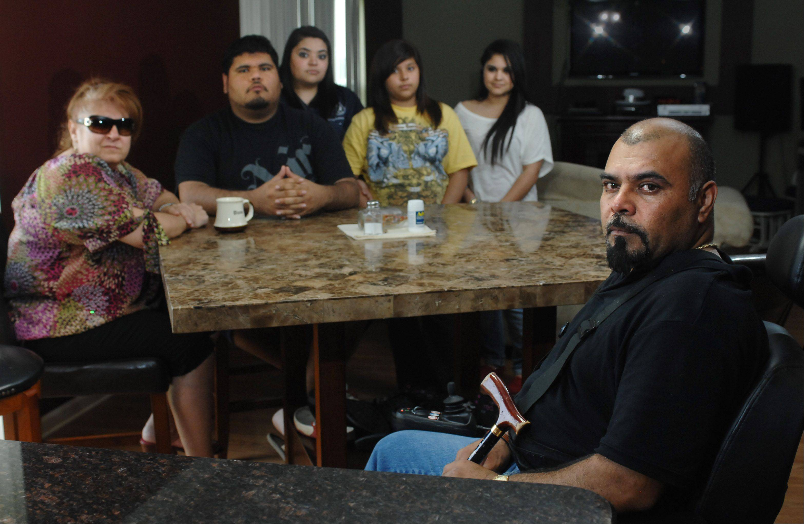 Francisco Valdez and his family, wife Diana, son Francisco Jr., 22, and daughters Yvette, 20, Yurittza, 12, and Yessenia, 18. Valdez was with his children on the way to visit their mother in the hospital when they collided head-on with a drunken driver. Unable to work because of his injuries, Francisco is losing the house he built.