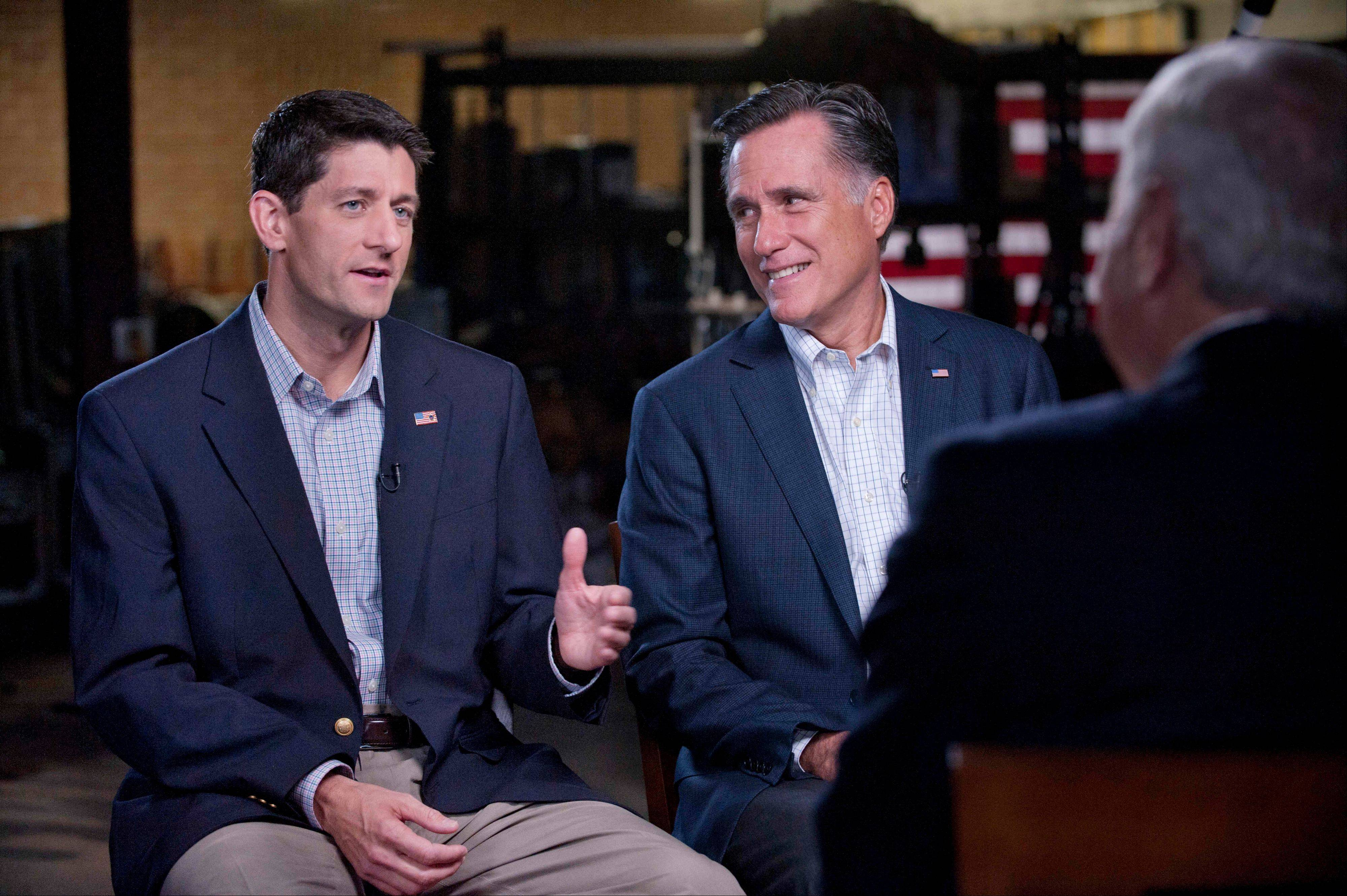 "GOP Presidential nominee Mitt Romney and his newly chosen VP running mate Paul Ryan, left, talk with Bob Schieffer of ""60 Minutes"" on CBS Sunday. Ryan will meet voters at the Iowa State Fair th"