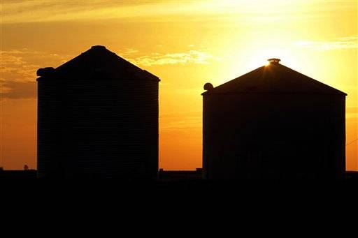 The sun rises over a grain silos in Ashland, Ill. Crops as well as wildlife and livestock are struggling from the dry weather and a heat wave over much of the country.