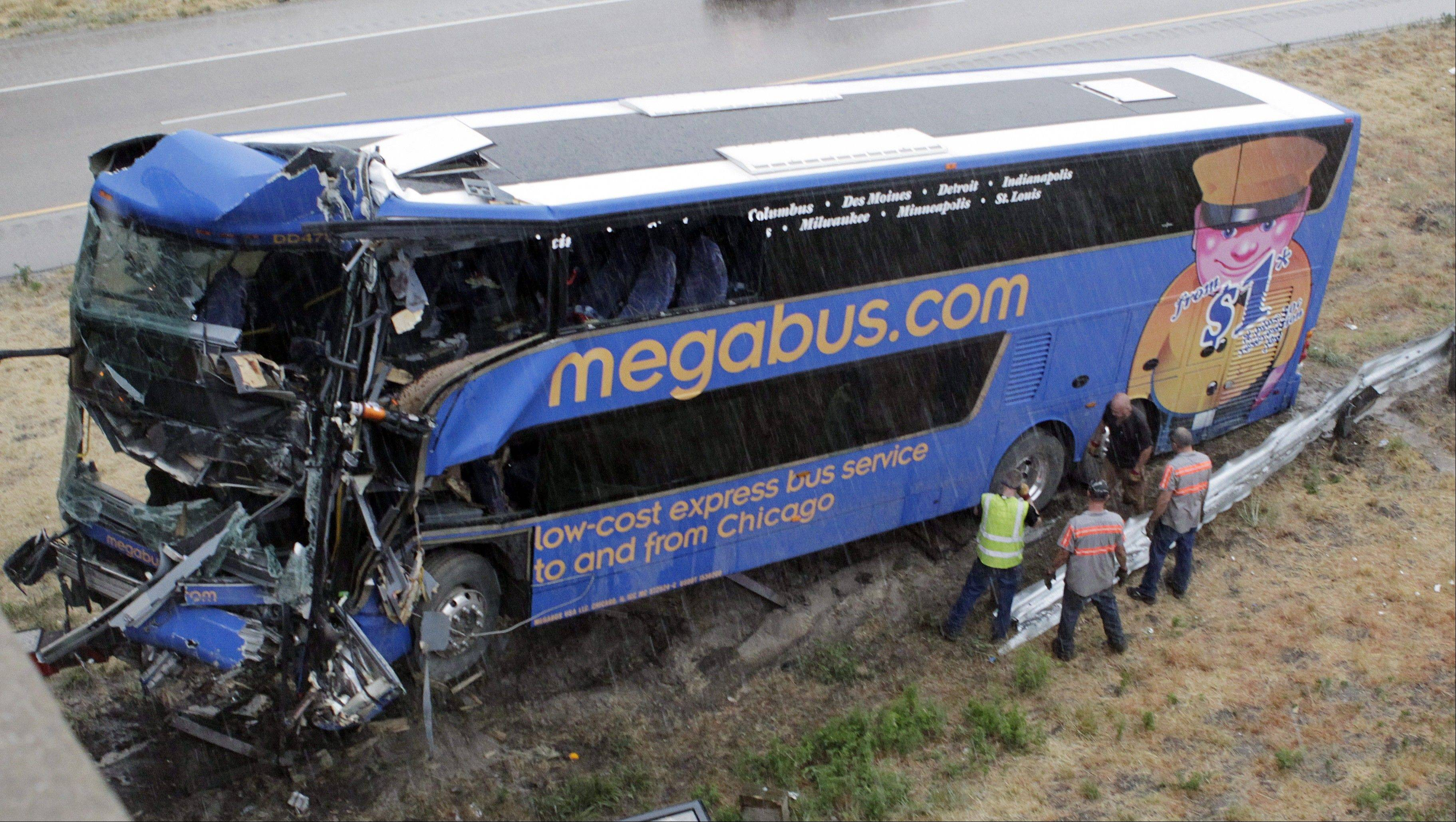 This Megabus slammed into a bridge pillar along Interstate 55 near Litchfield on Aug. 2, killing one passenger.