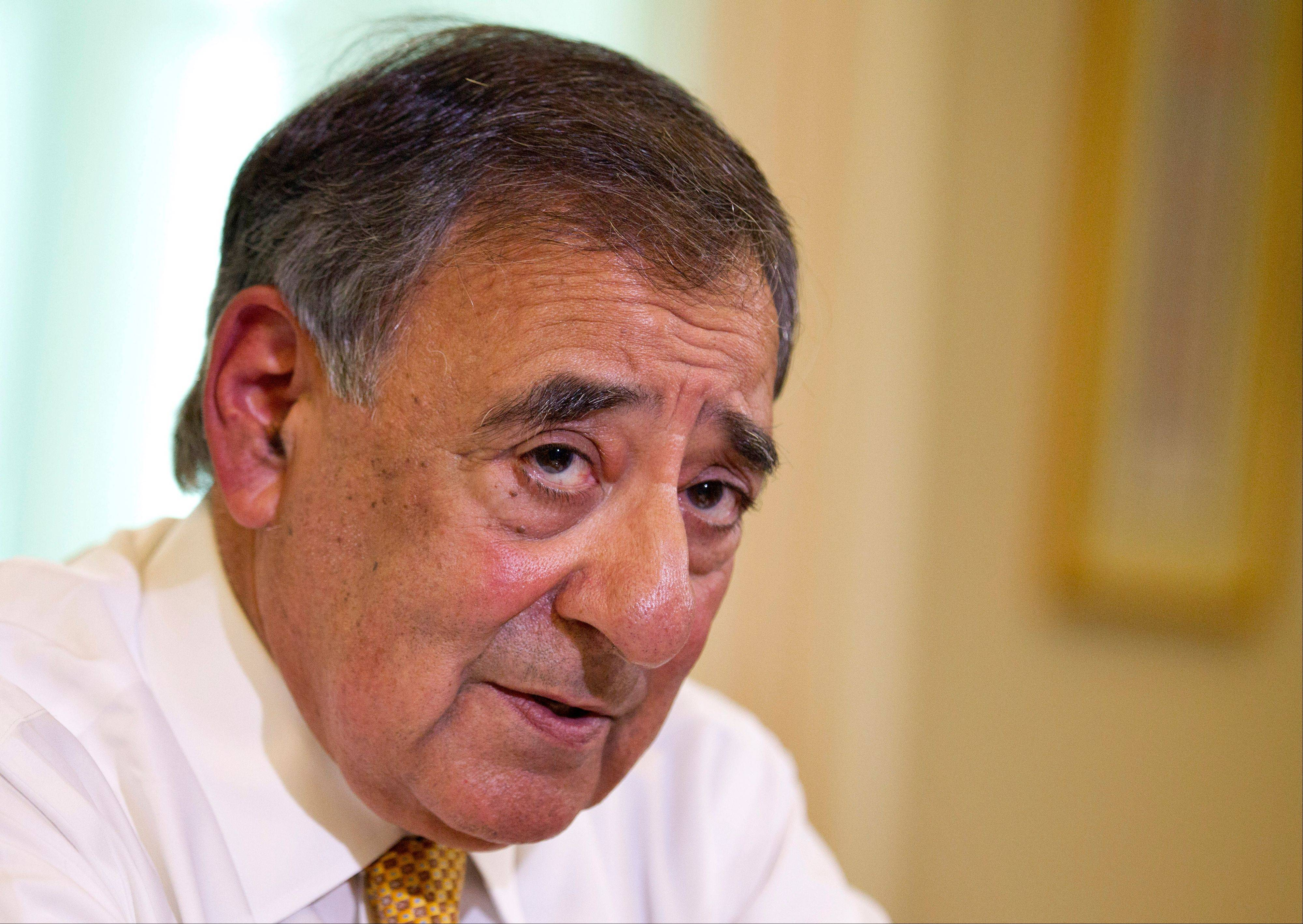 Defense Secretary Leon Panetta is interviewed by The Associated Press, Monday, Aug. 13, 2012, at the Pentagon.