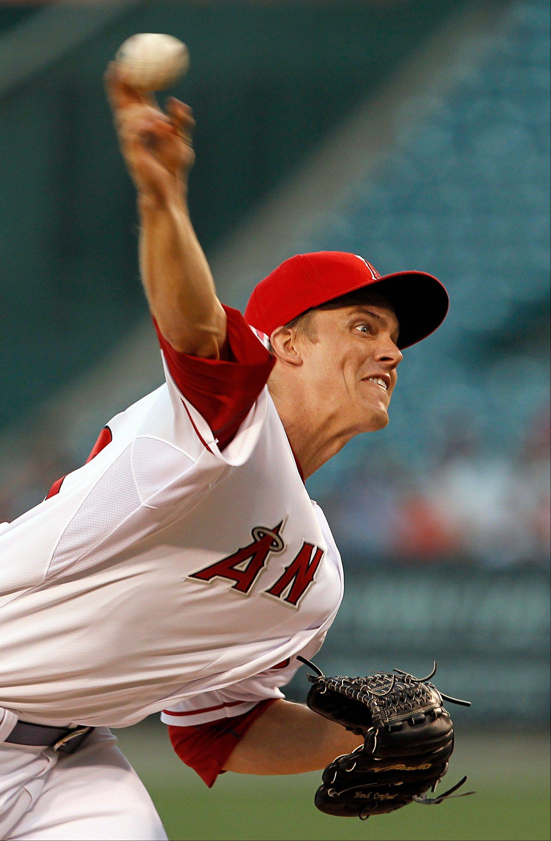 Los Angeles Angels starter Zack Greinke struck out five and walked one in a win over Cleveland on Tuesday at home.