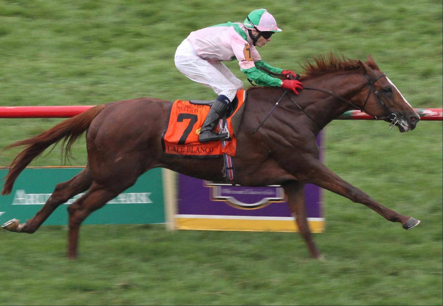Jamie Spencer, riding Cape Blanco, won the Arlington Million at Arlington Park in 2011.