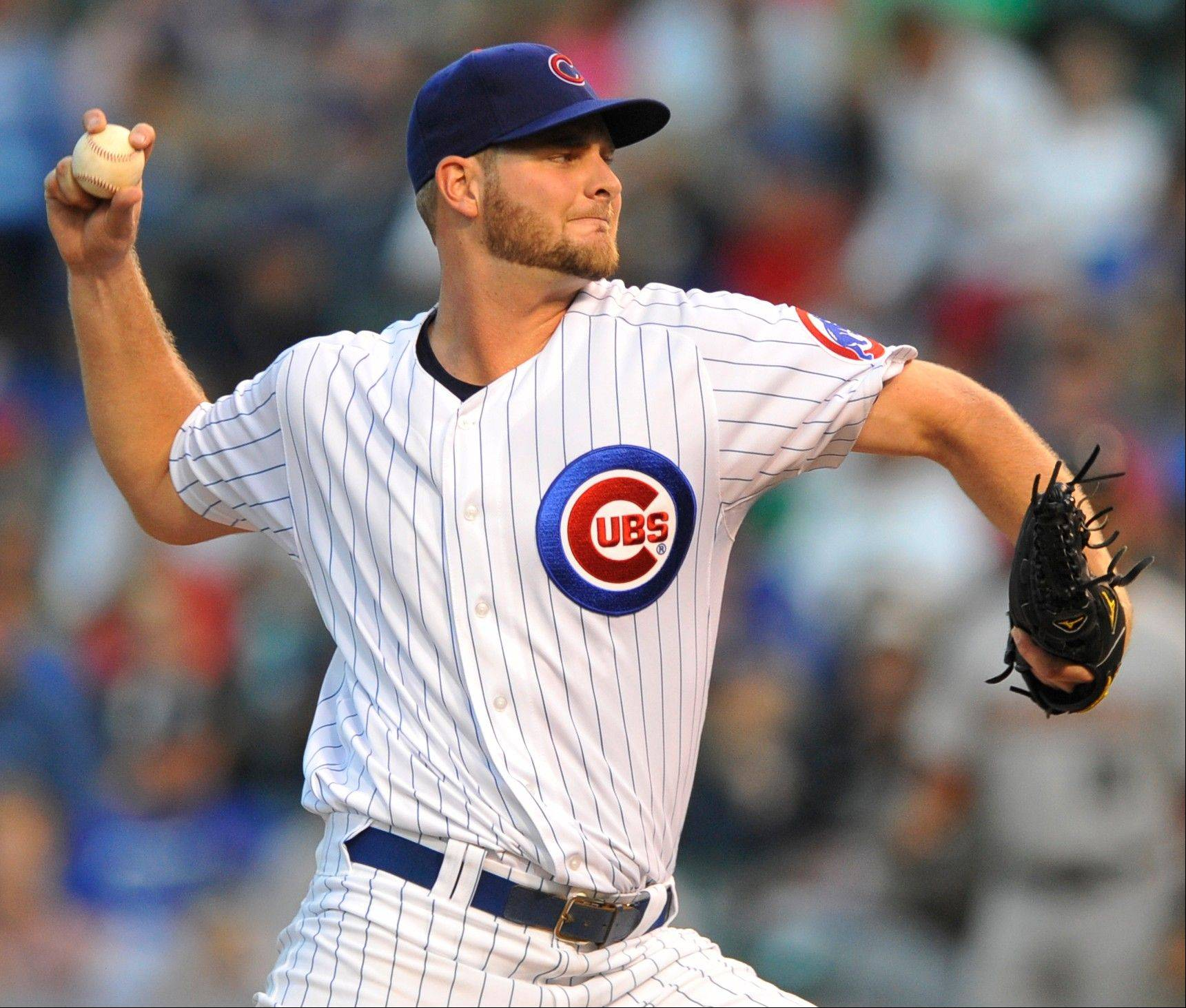 Cubs starter Chris Volstad delivers a pitch against the Houston Astros Tuesday during the first inning at Wrigley Field.
