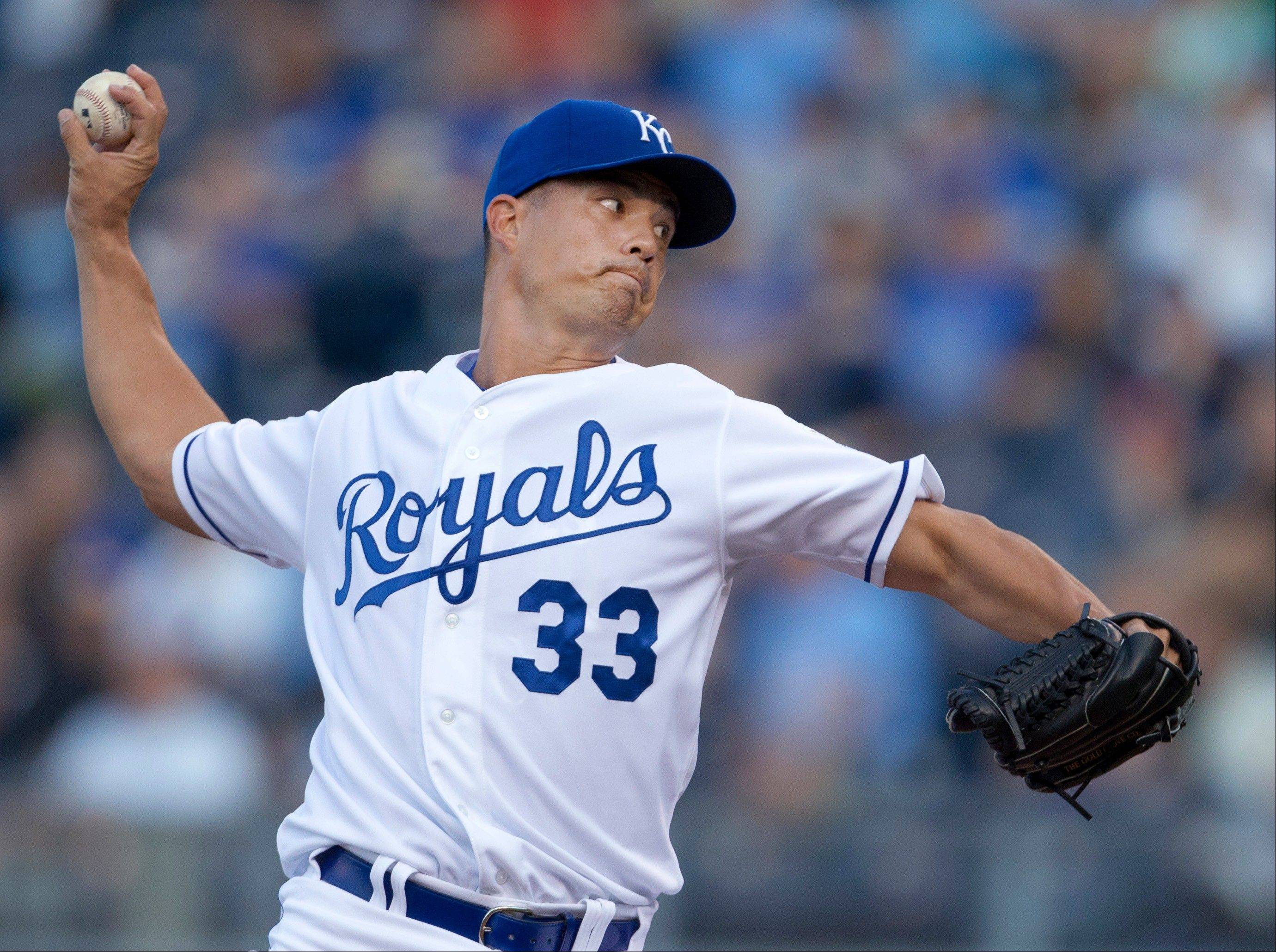 Kansas City Royals starter Jeremy Guthrie pitches to an Oakland Athletics batter Tuesday during the first inning.