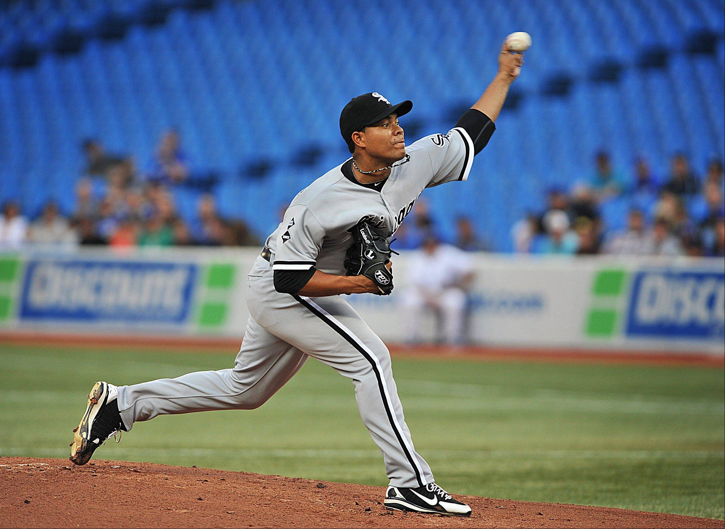 White Sox pitcher Jose Quintana pitches against the Toronto Blue Jays Tuesday during first inning in Toronto.