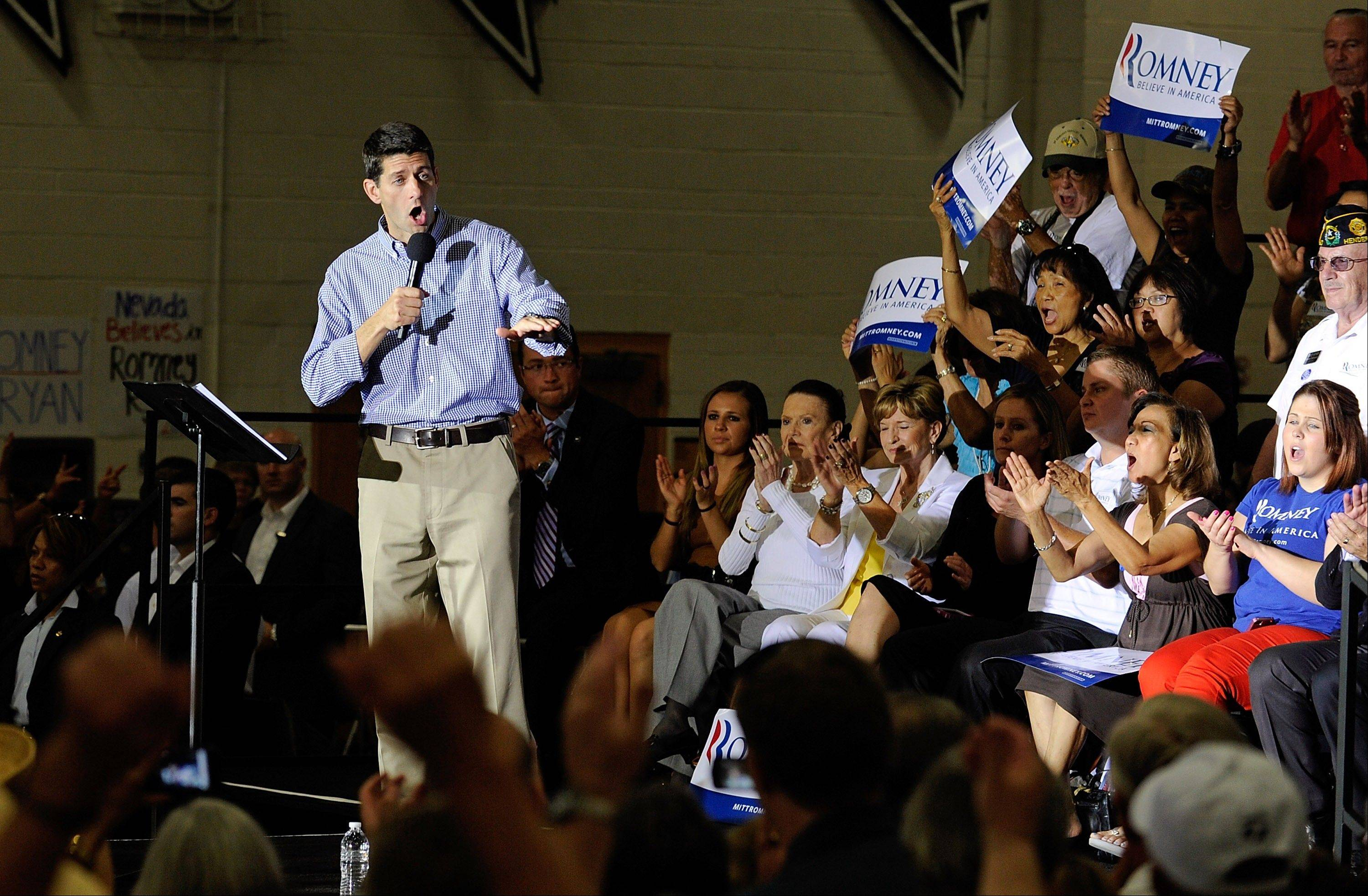 Republican vice presidential candidate Rep. Paul Ryan R-Wis., speaks during a campaign event at Palo Verde High School on Tuesday, Aug. 14, 2012 in Las Vegas.
