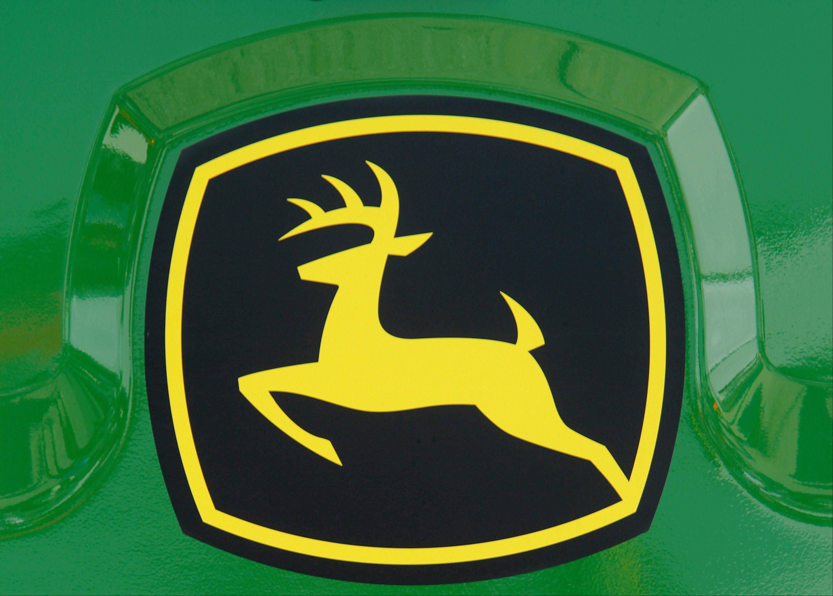 Associated Press The John Deere logo on the back of a combine at the John Deere farming equipment exhibit area during the Farm Progress Show in Decatur.