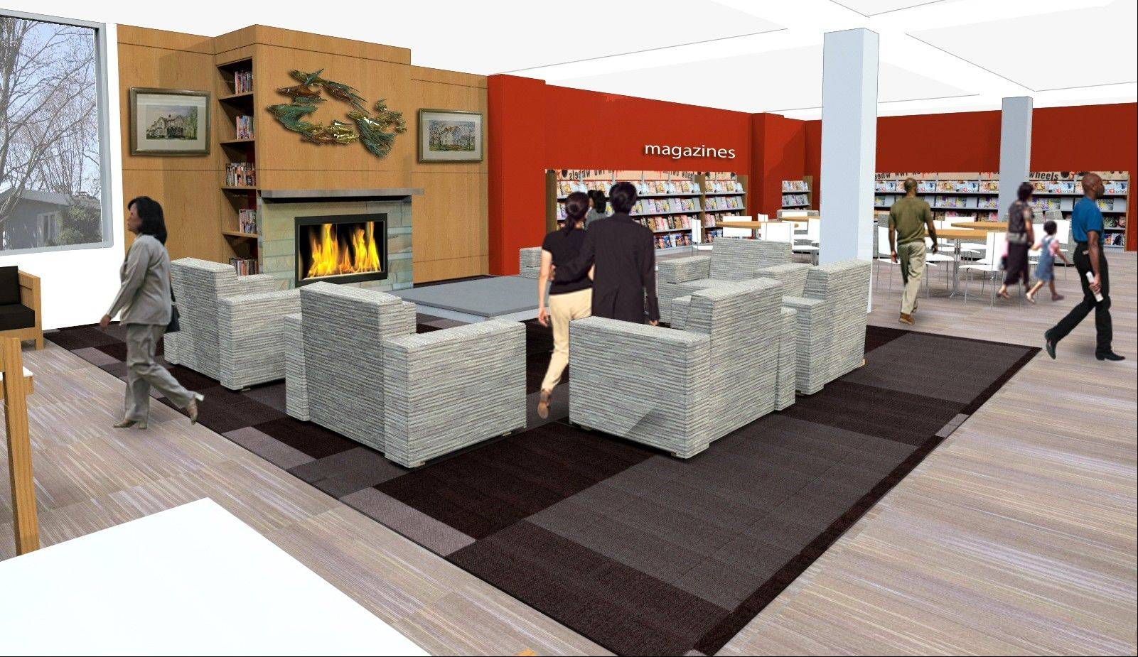 "The library's new ""living room"", where visitors can relax in lounge furniture in front of a fireplace, is part of a $2.8 million renovation plan approved by the Arlington Heights Memorial Library board this week."