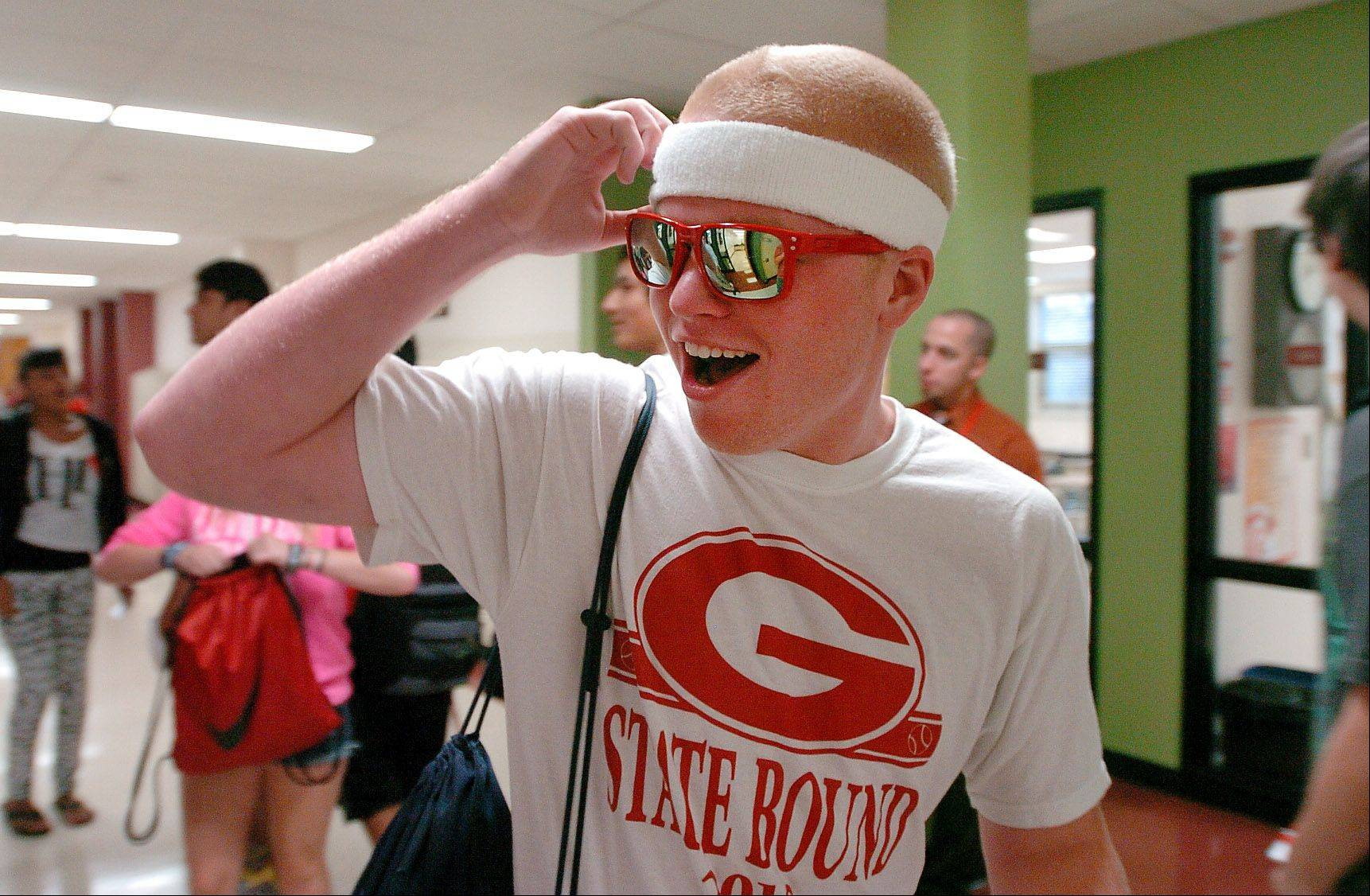 Senior Jacob Adams is ready to go during first day of classes at Grant Community High School in Fox Lake Wednesday.