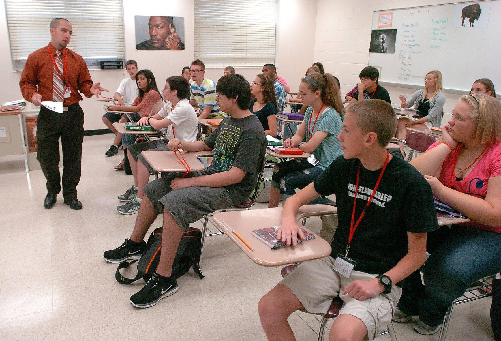 Mike Werner teaching his Honors Algebra II class Wednesday morning at Grant High School in Fox Lake.