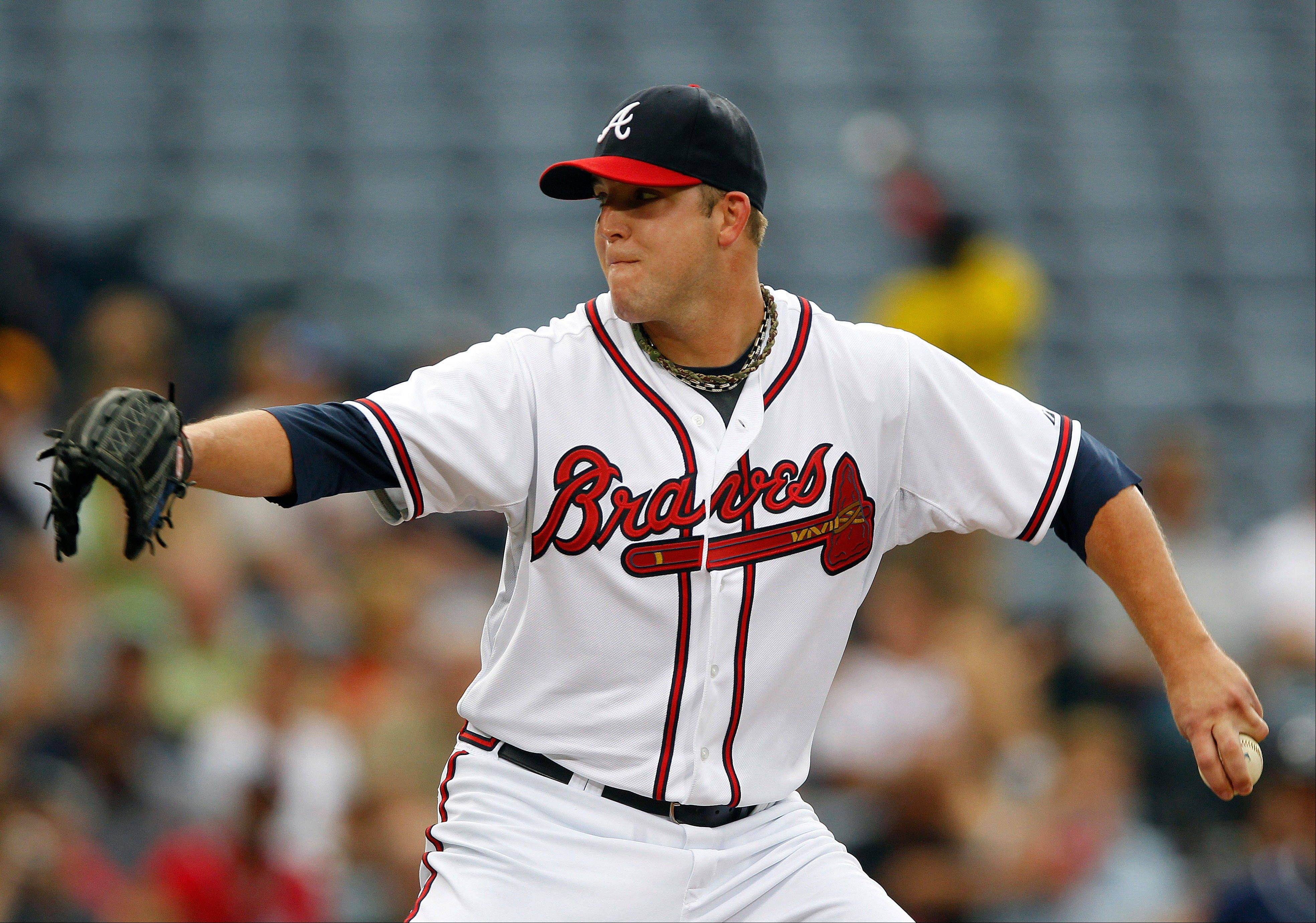 Atlanta Braves starting pitcher Paul Maholm works Wednesday during the first inning against the San Diego Padres.