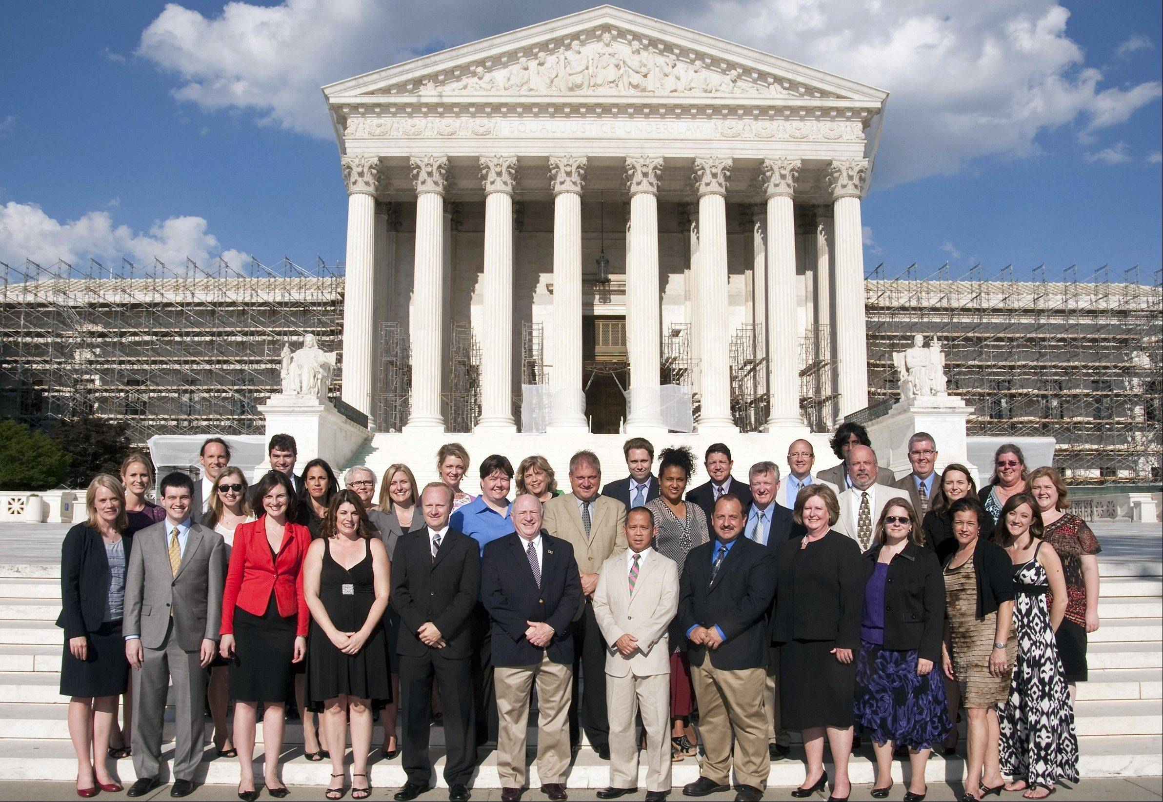 The Supreme Court Summer Institute for Teachers participants. Maine West Social Science teacher Kelly Pecak is second row, fourth from left.