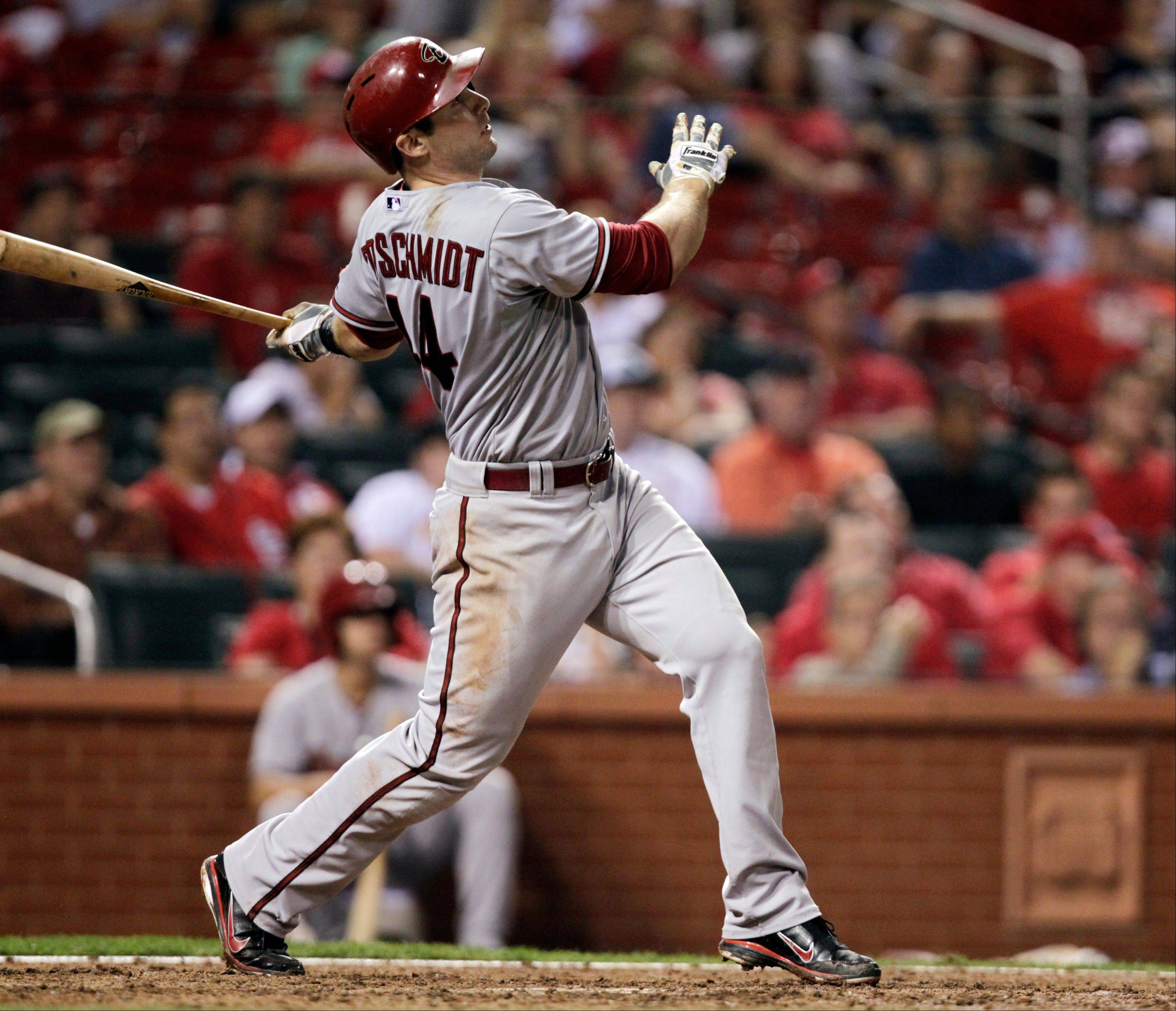 Arizona's Paul Goldschmidt watches his solo home run in the ninth inning Thursday in St. Louis.