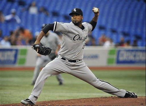 Chicago White Sox pitcher Francisco Liriano delivers against the Toronto Blue Jays during the first inning of a baseball game, Thursday, Aug. 16, 2012, in Toronto. (AP Photo/The Canadian Press, Aaron Vincent Elkaim)