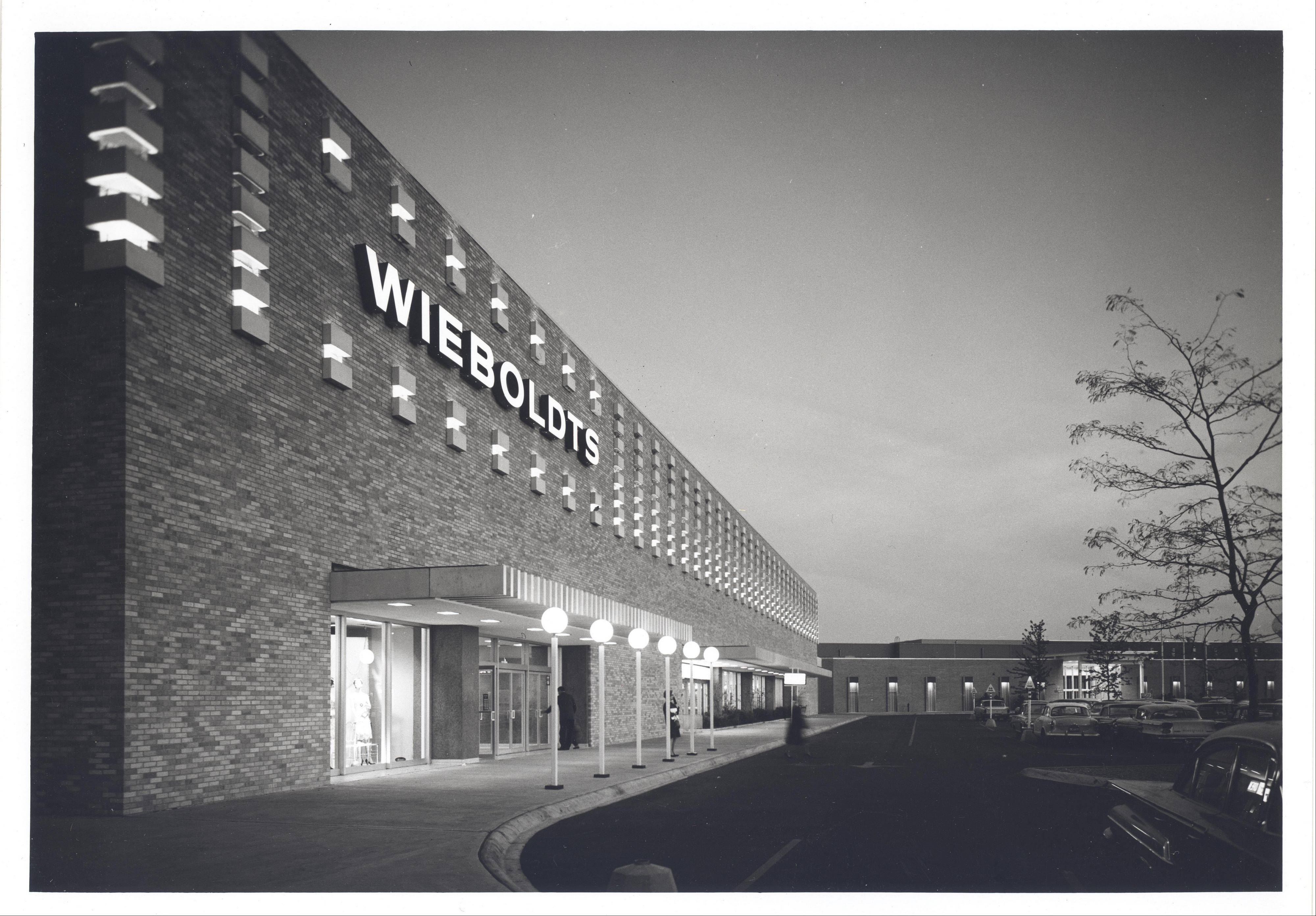 This is a view of the exterior of Wieboldt's department store at Randhurst Shopping Center in Mount Prospect.