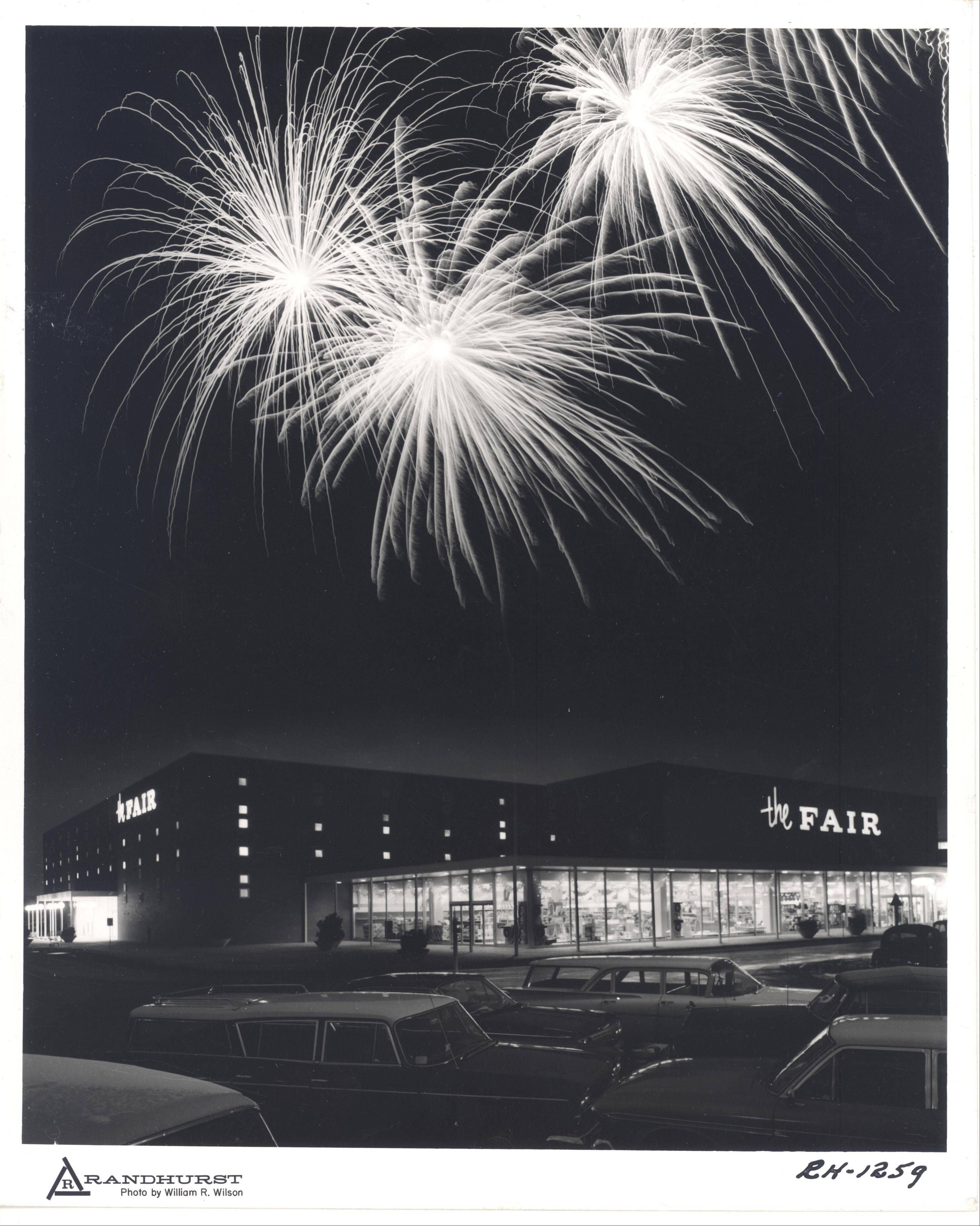 Fireworks go off by the Fair department store, one of the original anchor stores at Randhurst.