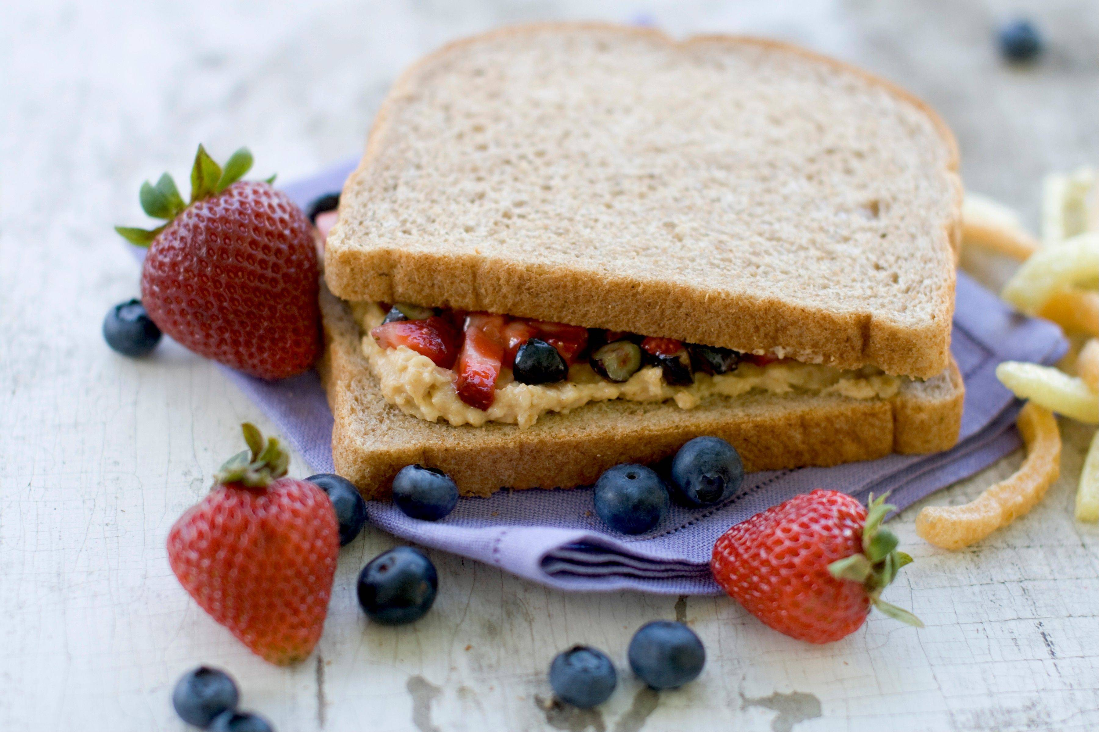 A healthy remake of a PB&J sandwich can include fresh berries or a natural fruit spread.