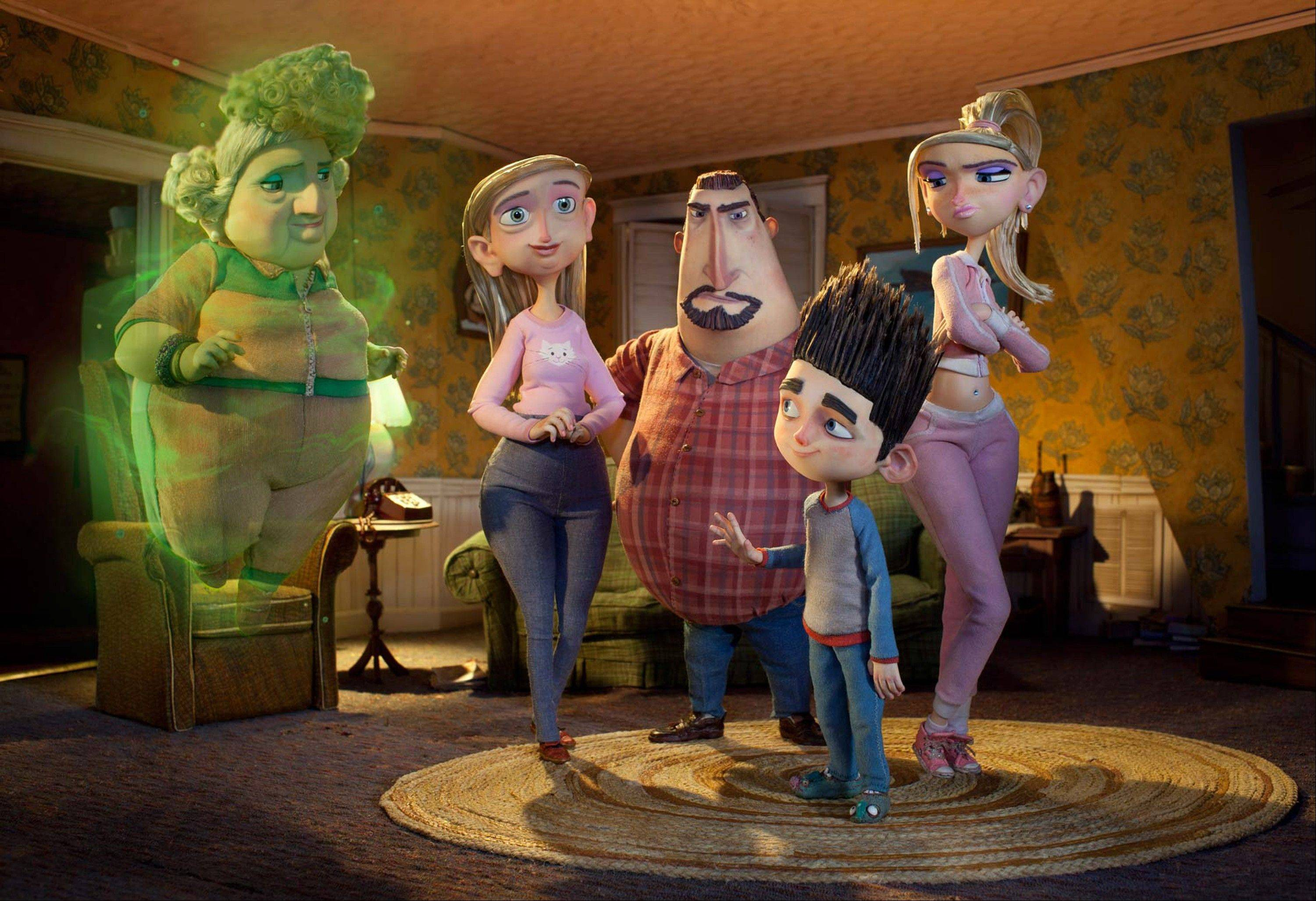 "Norman (voiced by Kodi Smit-McPhee) must deal with his parents, sister and his dead-but-still-talking-to-him grandmother (Elaine Stritch) in ""ParaNorman."""