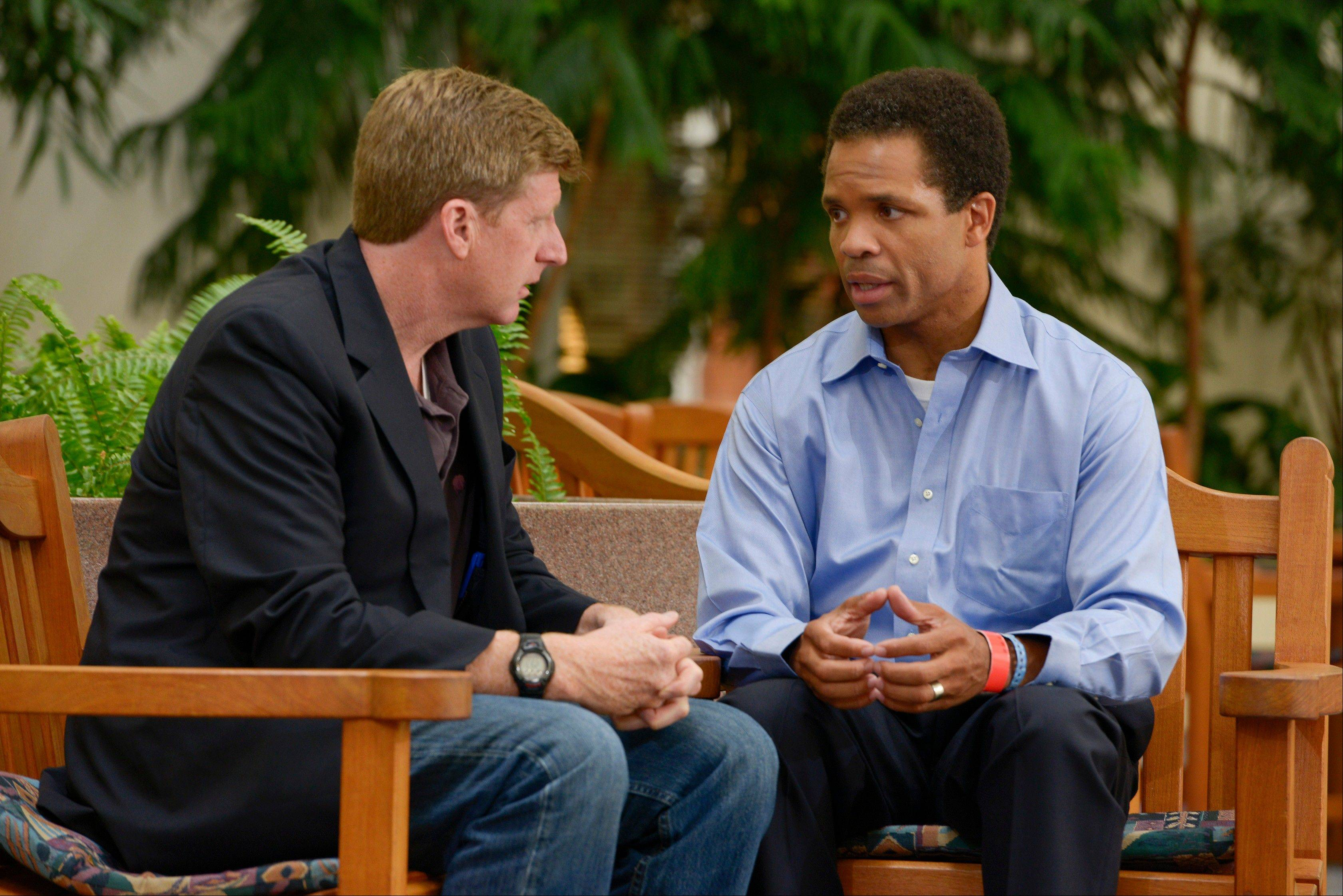 Former U.S. Rep. Patrick J. Kennedy meets with Congressman Jesse Jackson Jr. at the Mayo Clinic in Rochester, Minn, on Thursday.