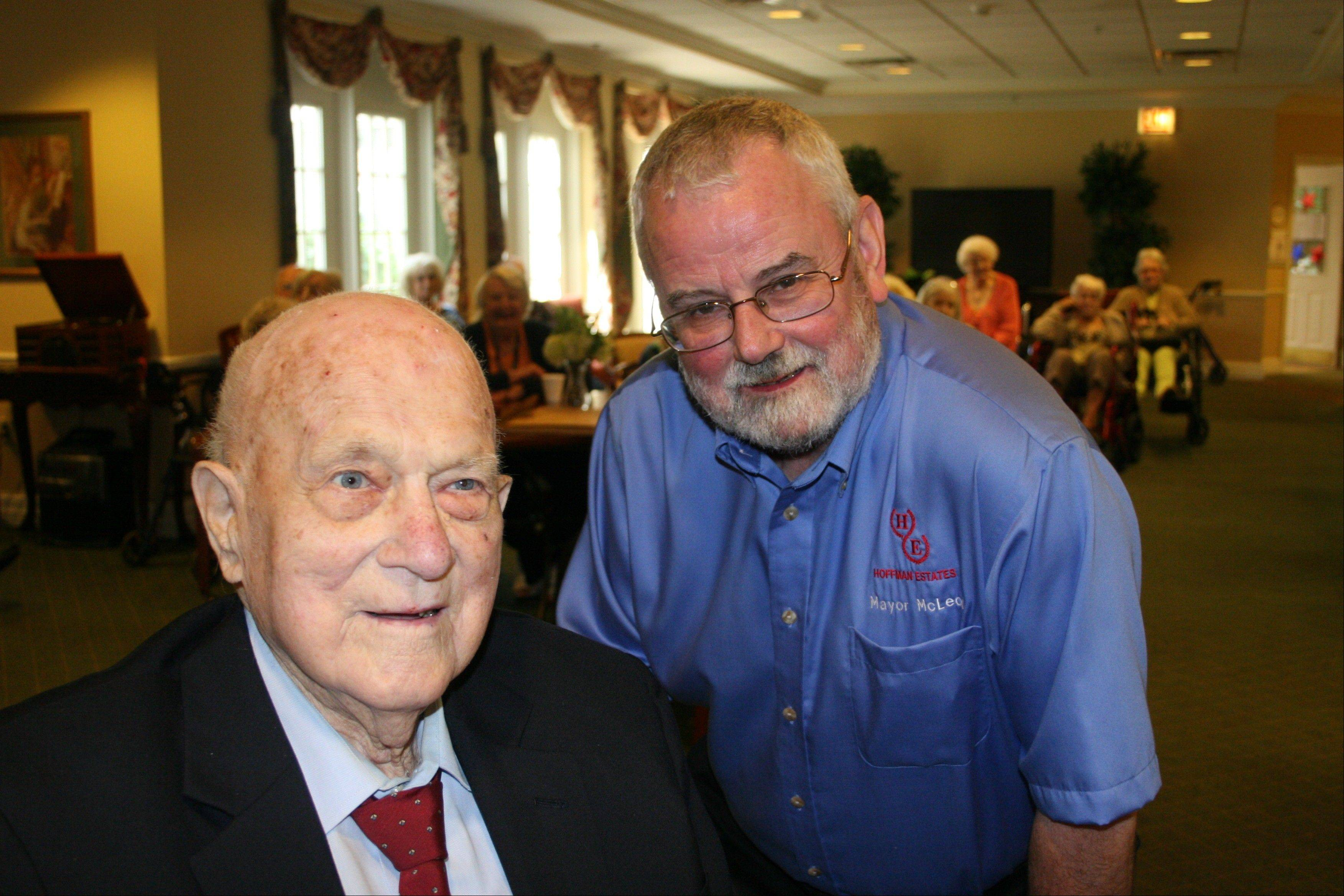 Hoffman Estates Mayor Bill McLeod was among the guests at Frank Kania's 100th birthday party.