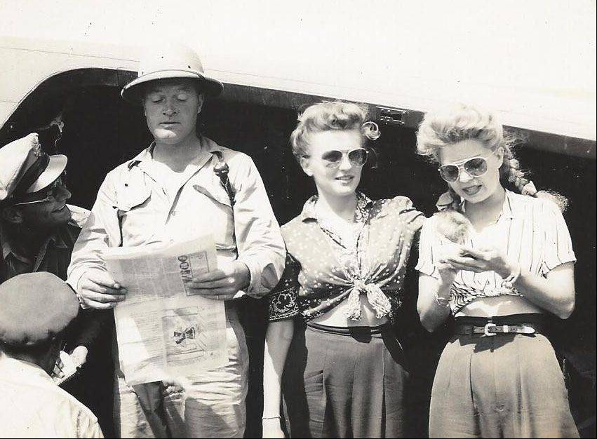Frank Kania was photographer for several USO shows during World War II. Here, in August 1944, Bob Hope, Patty Thomas, Francis Langford entertain the troops.