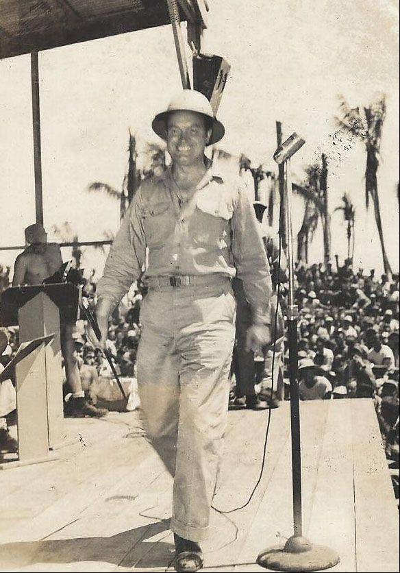 Frank Kania was photographer for several USO shows during World War II. Here, in August 1944, Bob Hope entertains the troops.