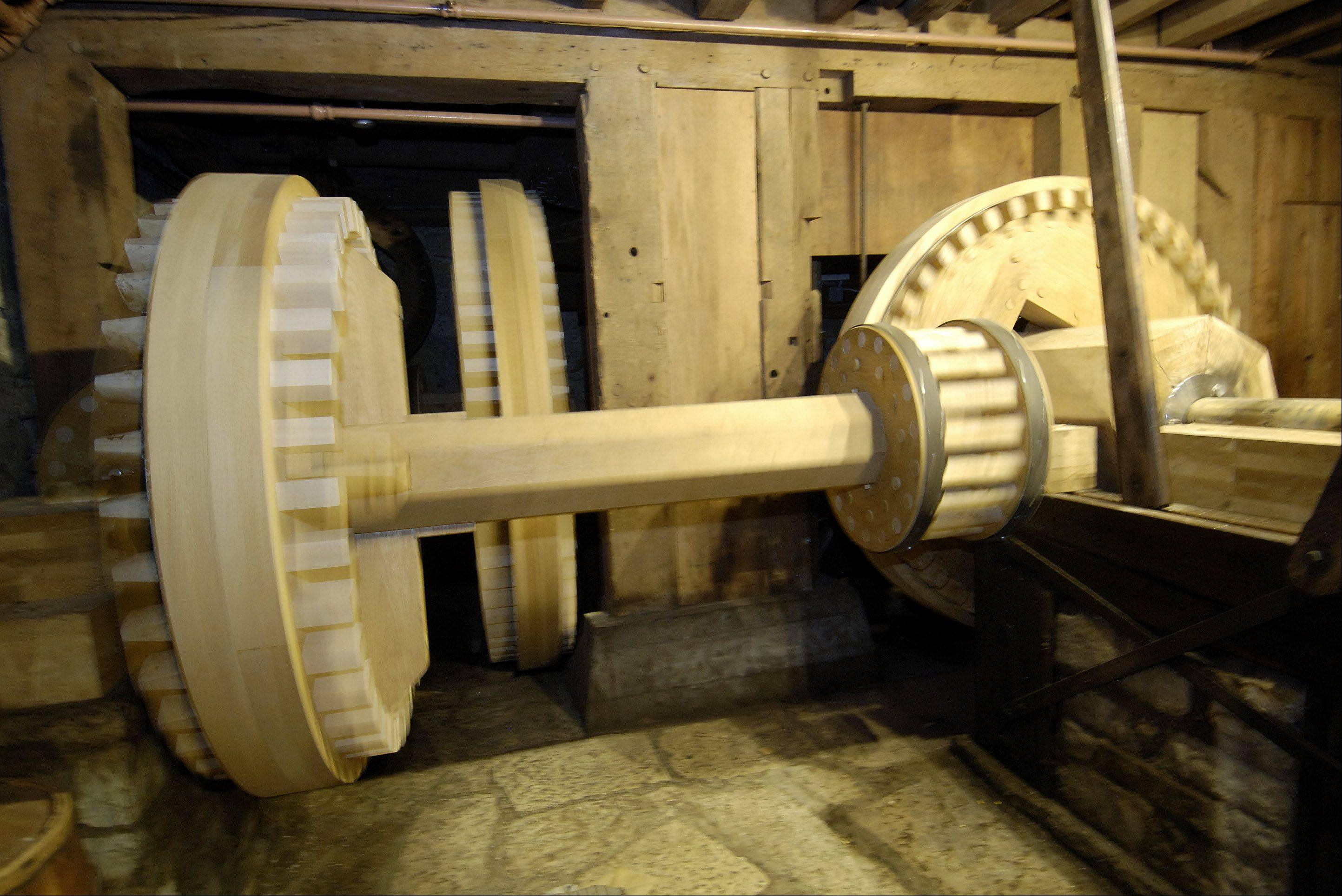 Visitors of Graue Mill and Museum can still see the corn mill's wheel turning, although it's now mechanically operated rather than water-operated.