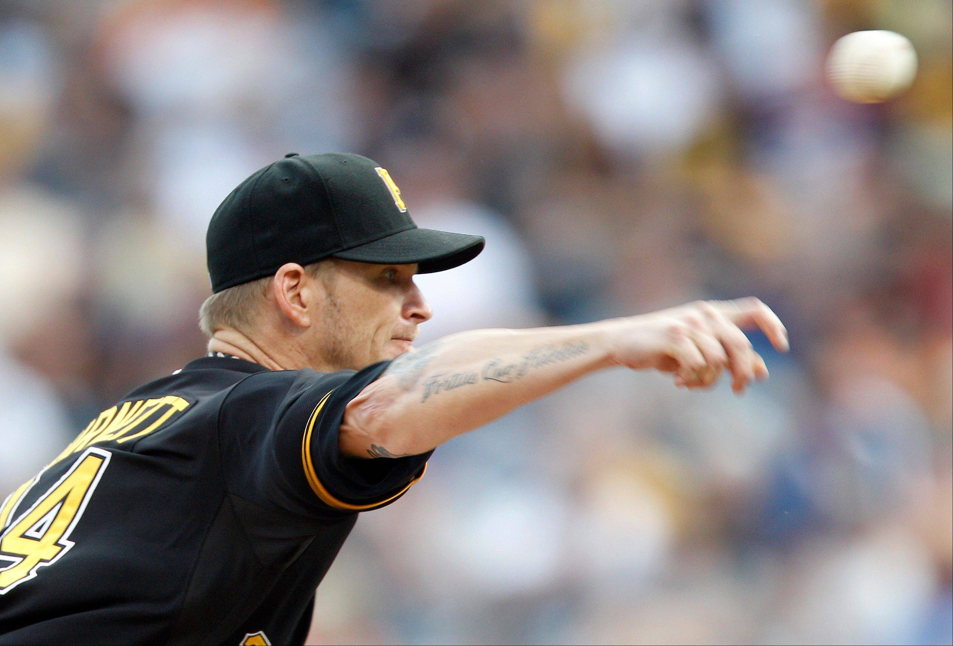 Pittsburgh starting pitcher A.J. Burnett had seven strikeouts Thursday in a home victory against Los Angeles.