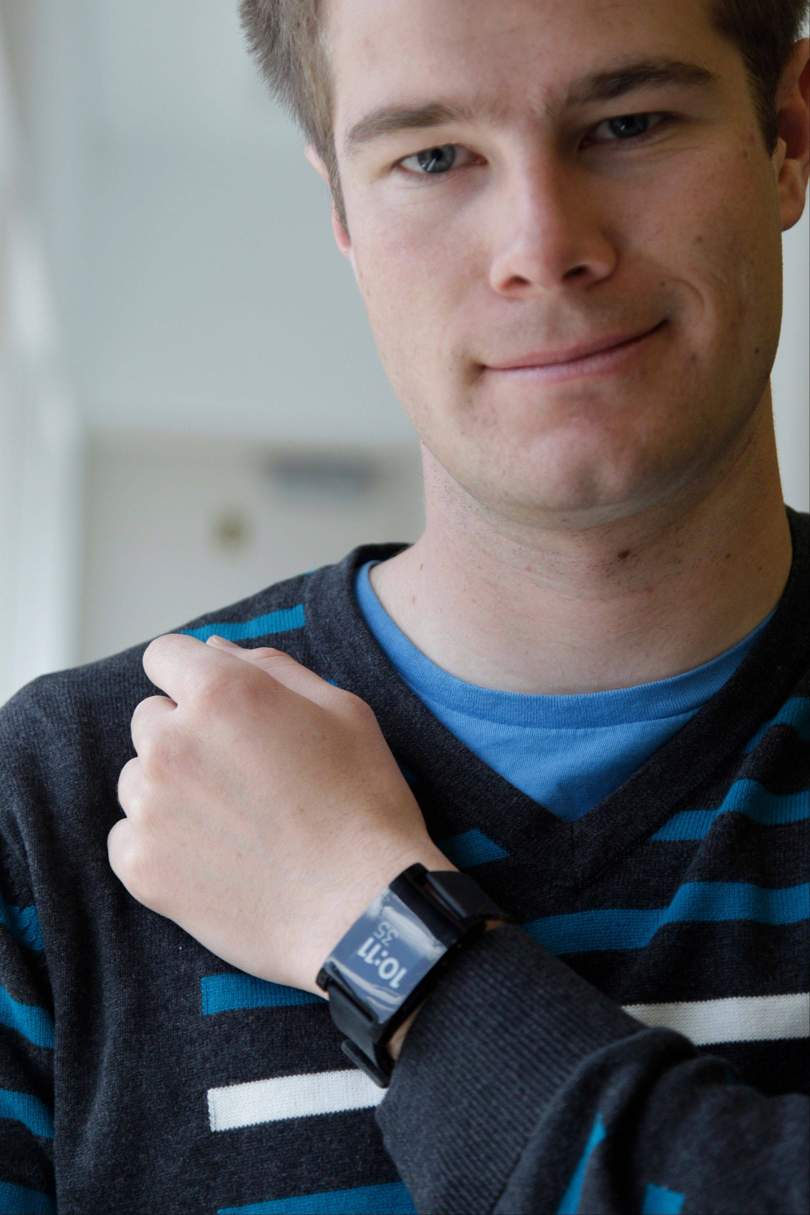 Pebble Technology founder Eric Migicovsky wearing the Pebble watch, in New York.