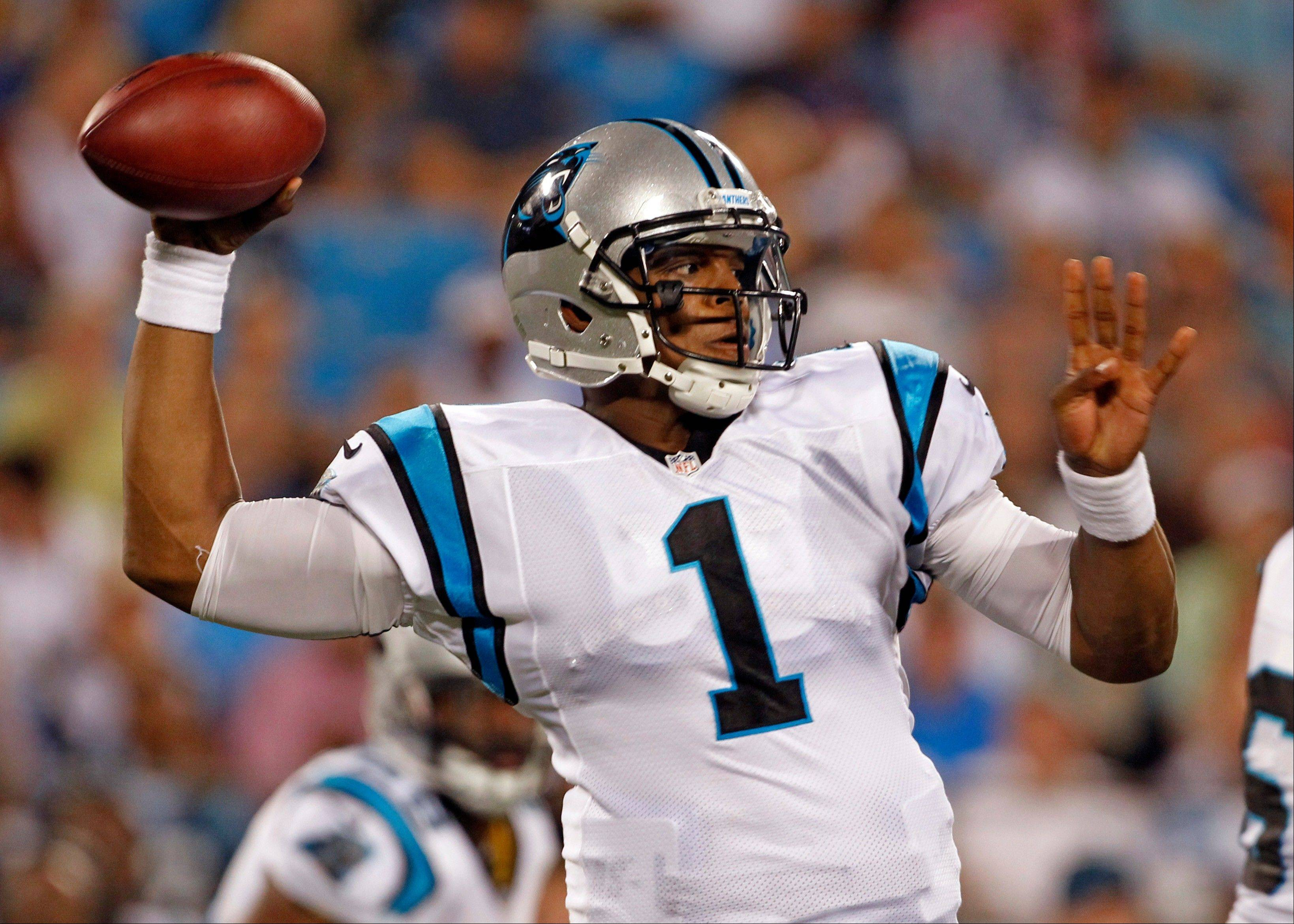 Quarterback Cam Newton led the Panthers to two touchdowns and a field goal in his three possessions Friday night against Miami in preseason action in Charlotte, N.C.