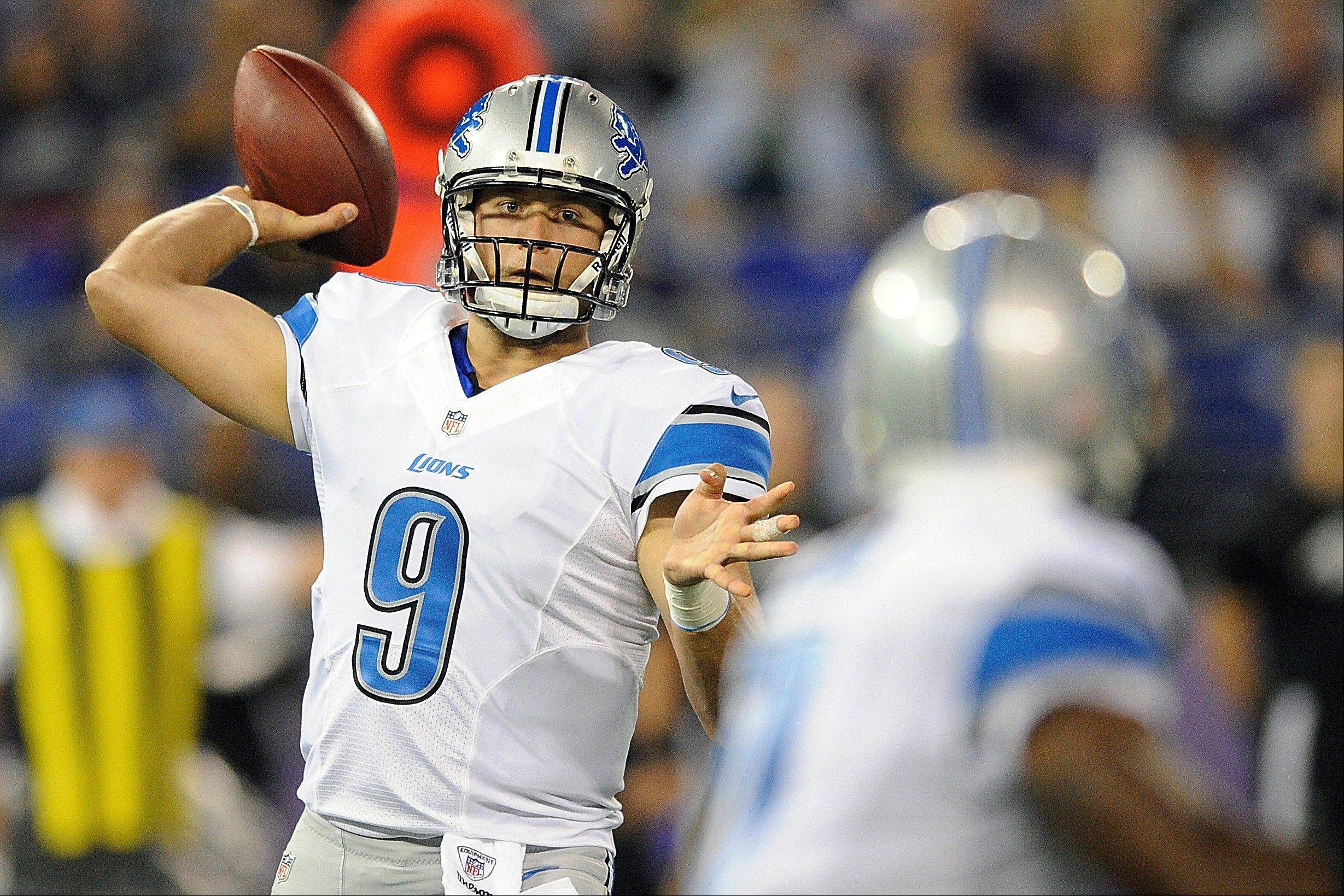 Detroit quarterback Matthew Stafford threw for 184 yards and two touchdowns in four possessions Friday night at home in preseason action against Baltimore.