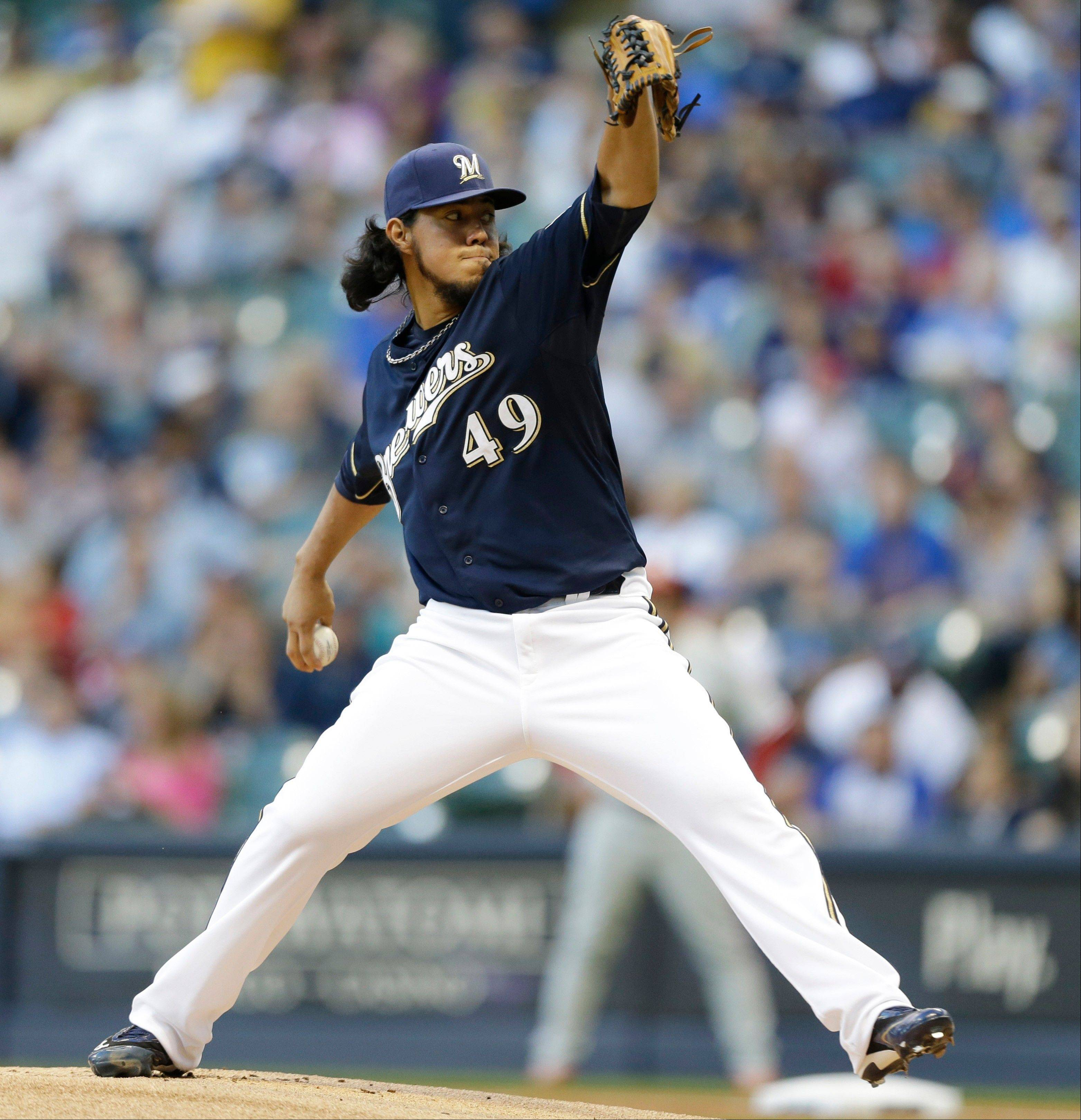 Milwaukee starting pitcher Yovani Gallardo struck out nine Friday at home against Philadelphia.
