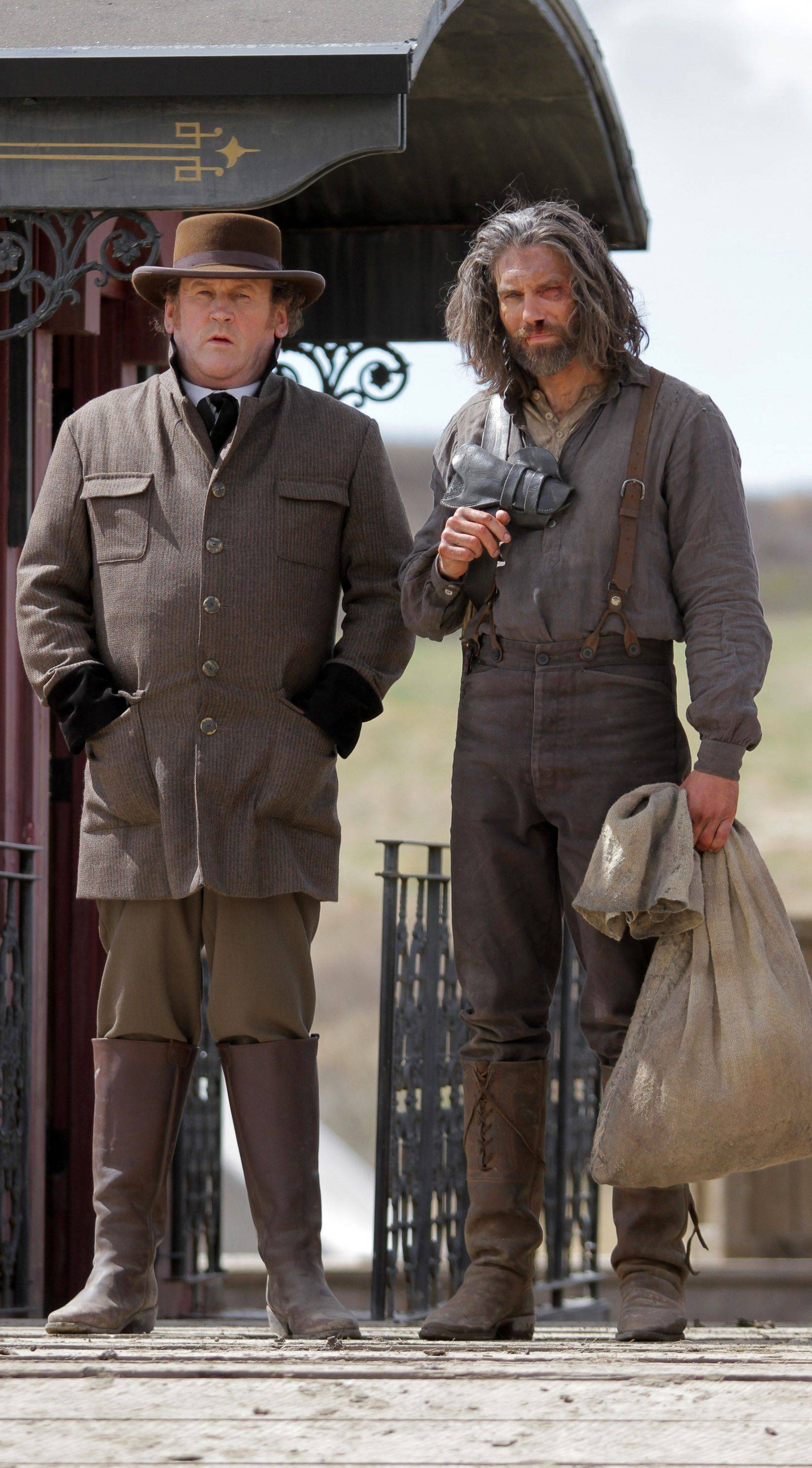 "Colm Meaney, left, as Thomas Durant, left, and Anson Mount as Cullen Bohannon in ""Hell On Wheels,"" returning for its second season."