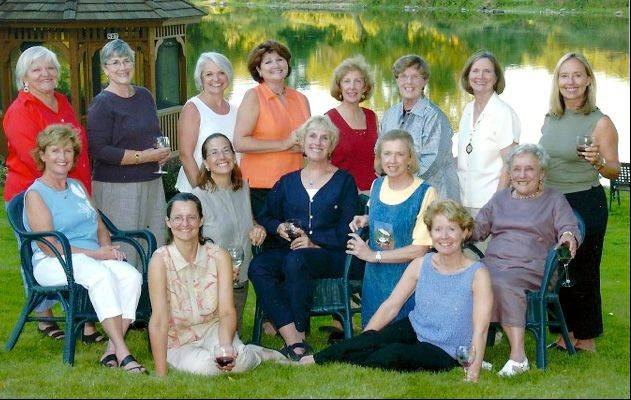 Geneva Book Club ladies, pictured top row from left, are Jessica Dean, Carol Loomis, Jeanne Herrick, Pat Cunningham, Rhonda Robinson, Marlene Barnes, JoAnn Cregier and Randi Hussey. Middle row, are Mary Aylward, Susan VanderVeen, Sheila Krippner, Martha Ryan and Pat Questch. Seated are Lee Shumow and Suzi Peters.