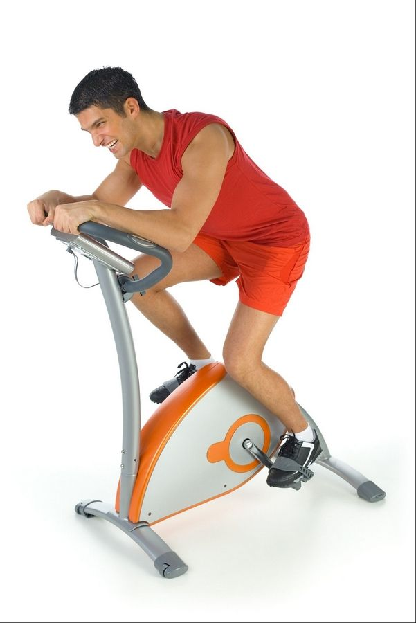 Aerobic exercises, such as riding vigorously on a stationary bike, benefit your heart.