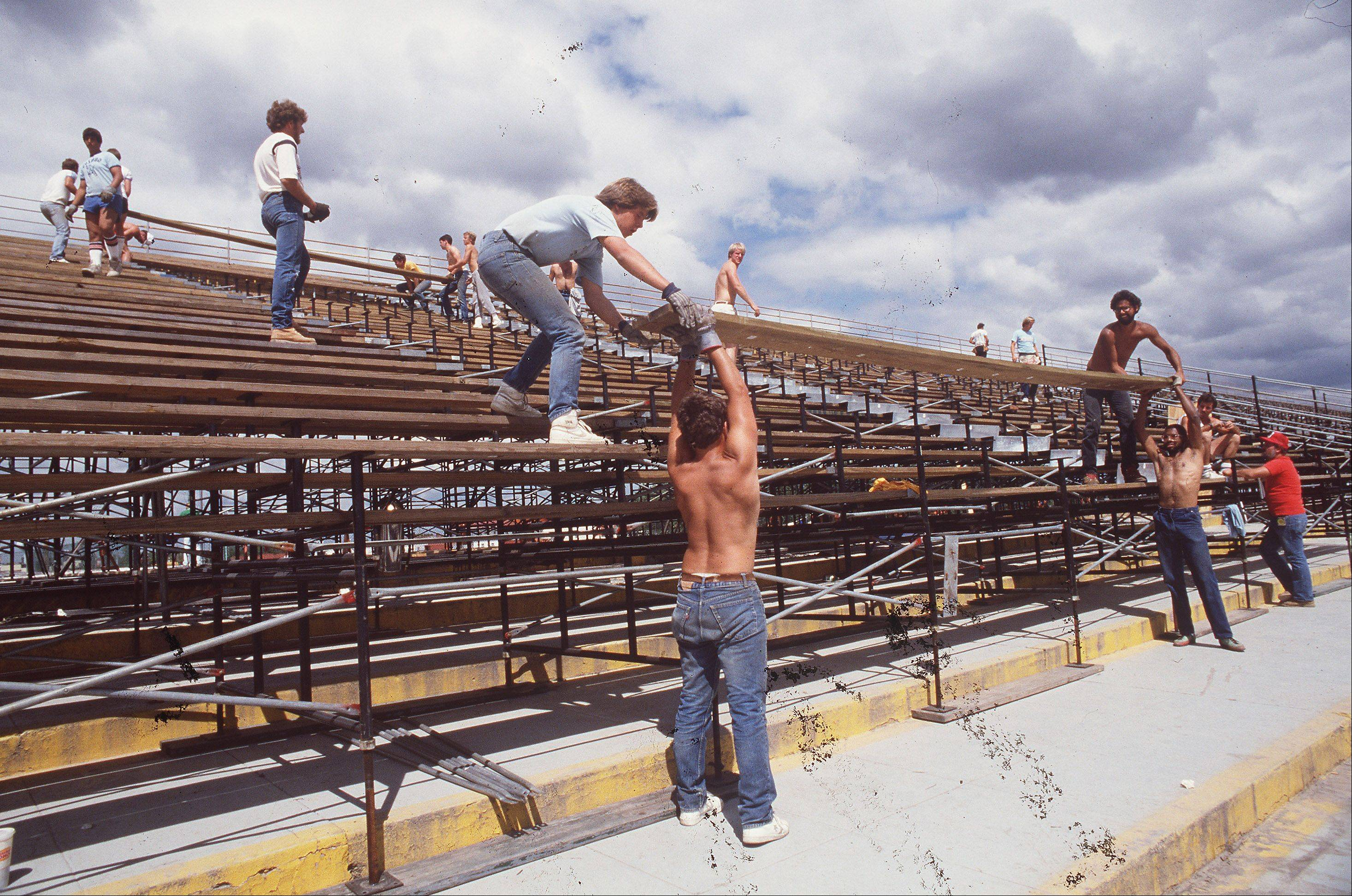 Bleachers are set up for the running of the Miracle Million on August 25, 1985 at Arlington Park after the fire in July.