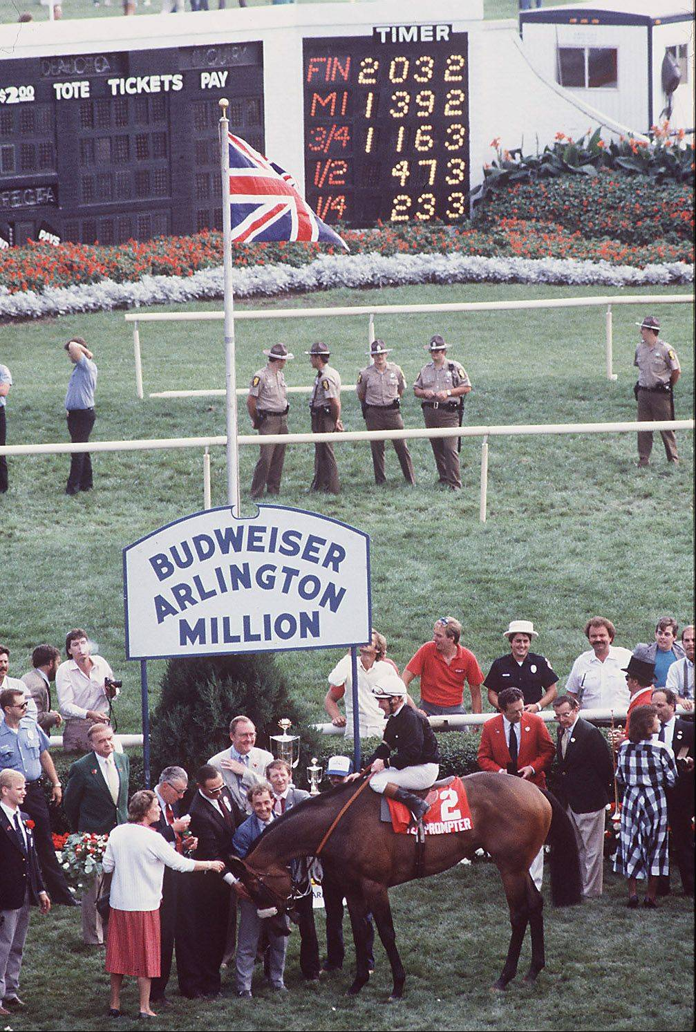 Teleprompter receives accolades as the winner of the Miracle Million at Arlington Park just 25 days after a fire burned the original Arlington to the ground.