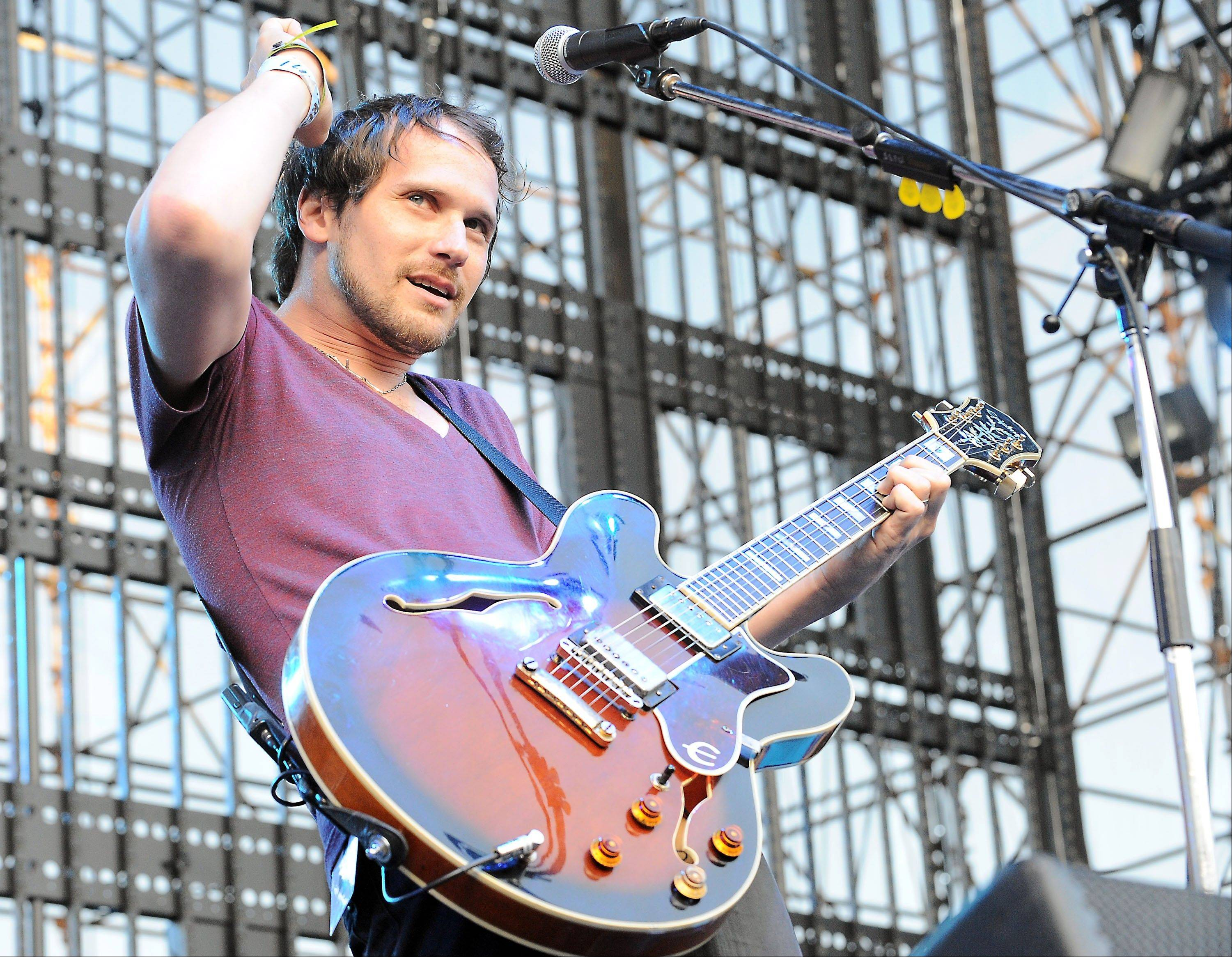 "This June 5, 2010 file photo shows Brian Aubert of Silversun Pickups performing at The 2010 KROQ Weenie Roast at The Verizon Wireless Amphitheater in Irvine, Calif. The Silversun Pickups want Mitt Romney's presidential campaign to immediately stop the use of the rock group's song ""Panic Switch."""