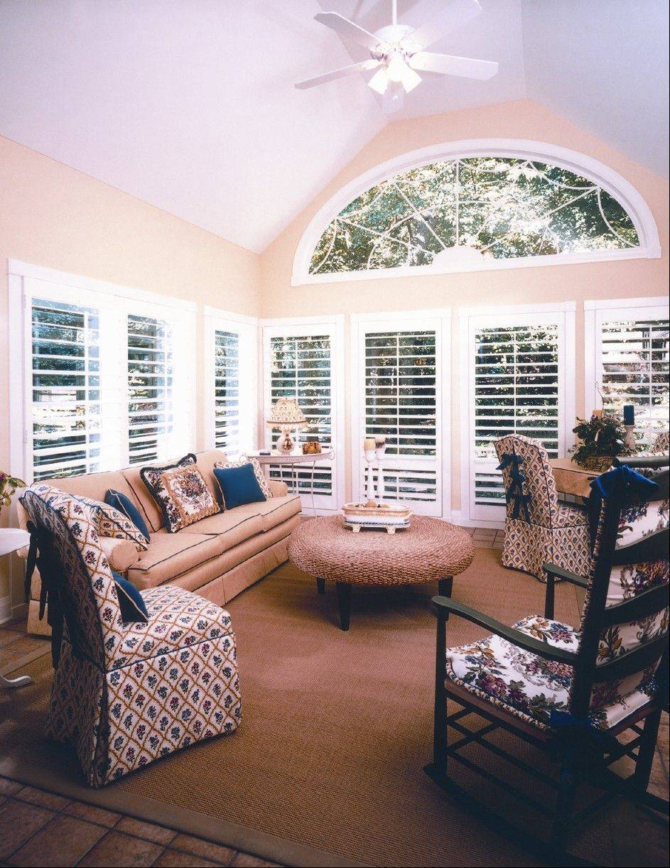 Custom-made wood shutters are constructed to fit any window size.
