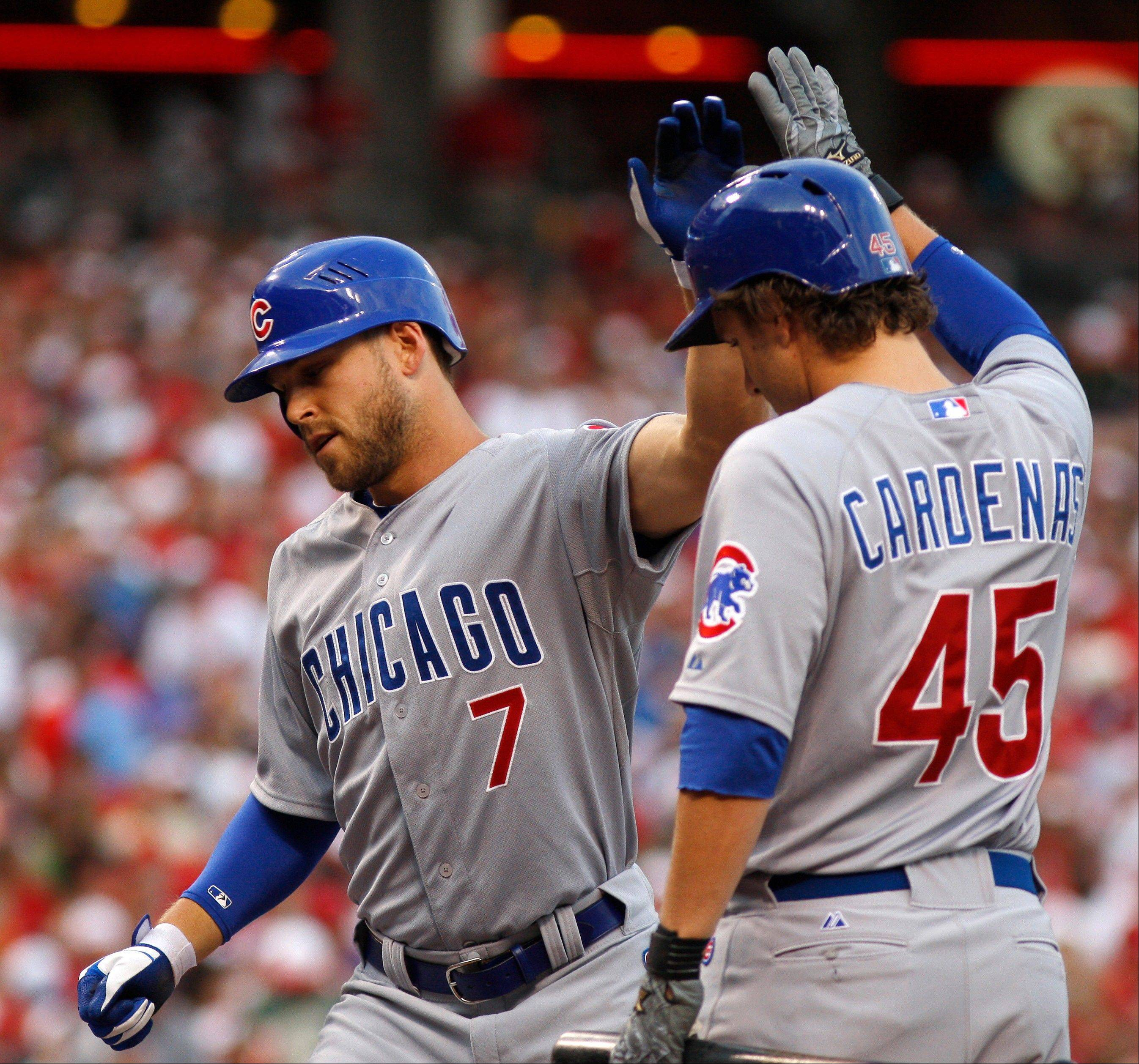 Cubs center fielder Brett Jackson (7) is congratulated by Adrian Cardenas (45) Saturday night after hitting hit a solo home run off Cincinnati Reds starting pitcher Todd Redmond during the second game of a doubleheader.