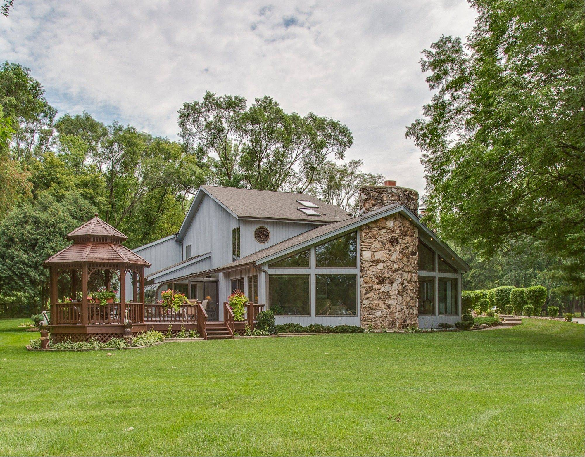 The home is located on a three-quarters acre lot.