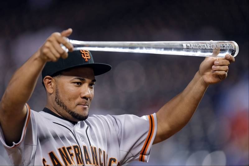 This July 10 2012 File Photo Shows The Giants Melky Cabrera Showing Off His