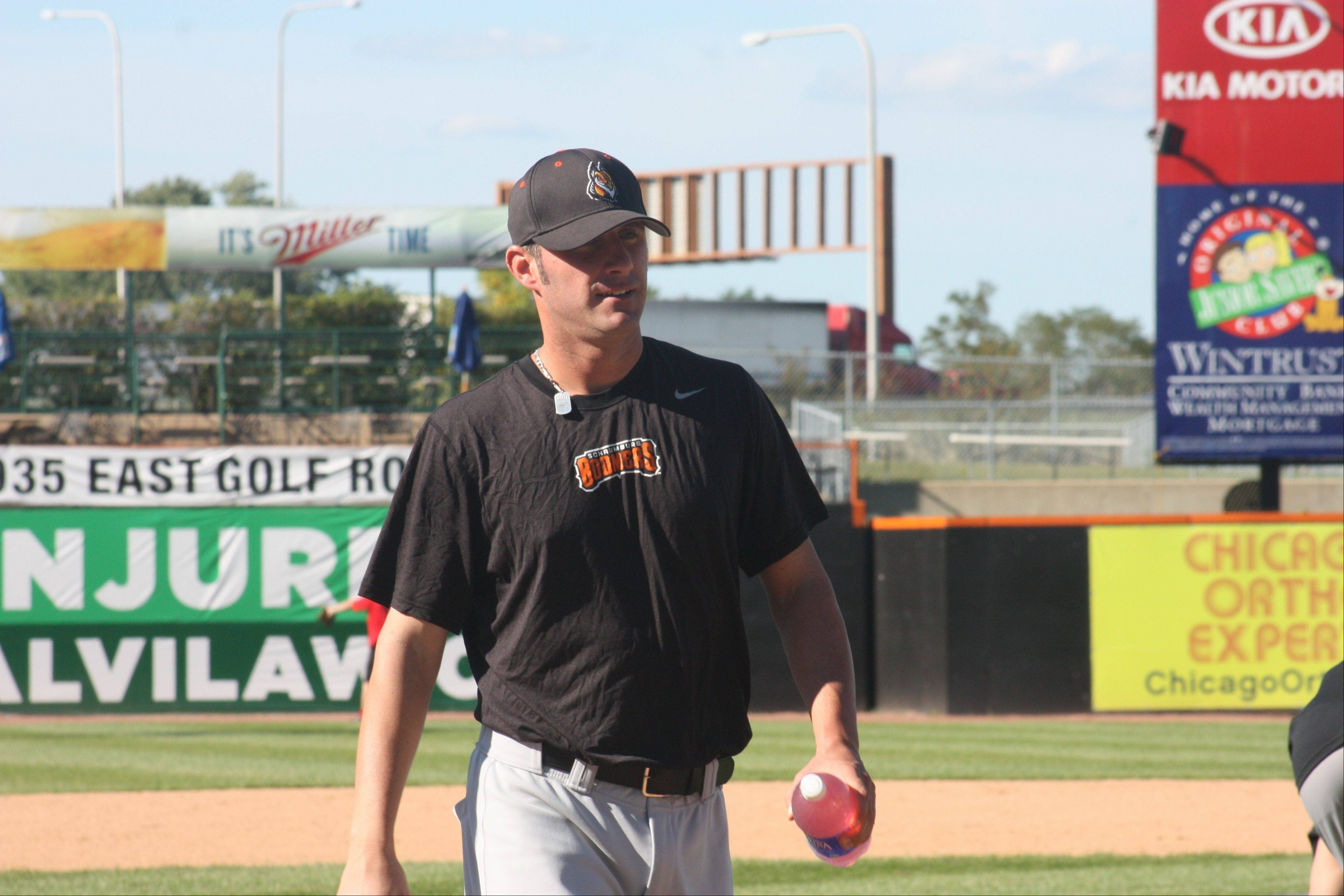 Schaumburg Boomers bench coach Mike Kashirsky is currently serving as the left-handed batting practice pitcher for the White Sox.