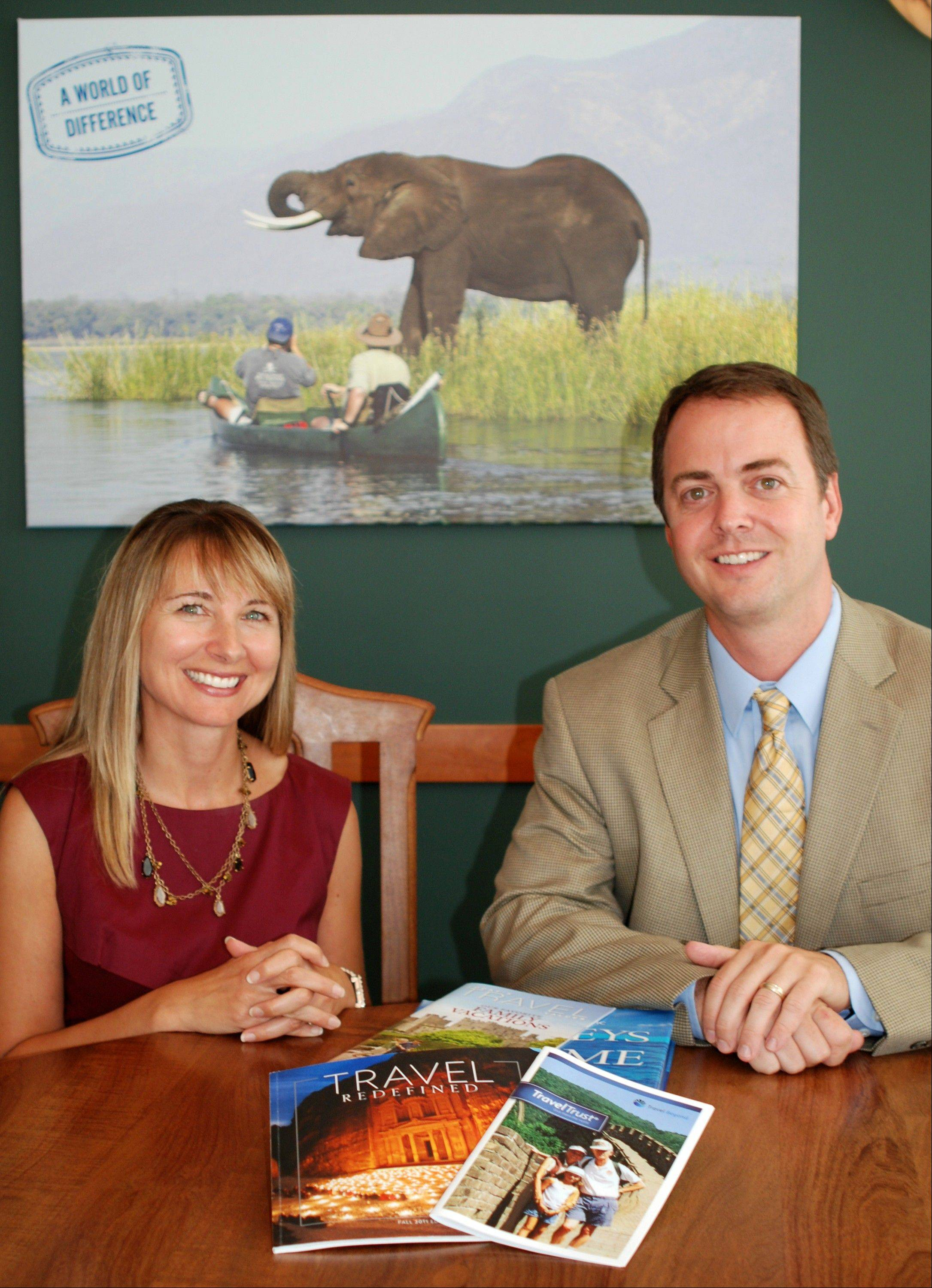 Margaret Cronin, a partner with the law firm Leonard, Street and Deinard, and Jim Bendt, president of Travel Beyond, a travel agency which has partnered with the law firm to help clients plan trusts that fund travel as part of an inheritance.