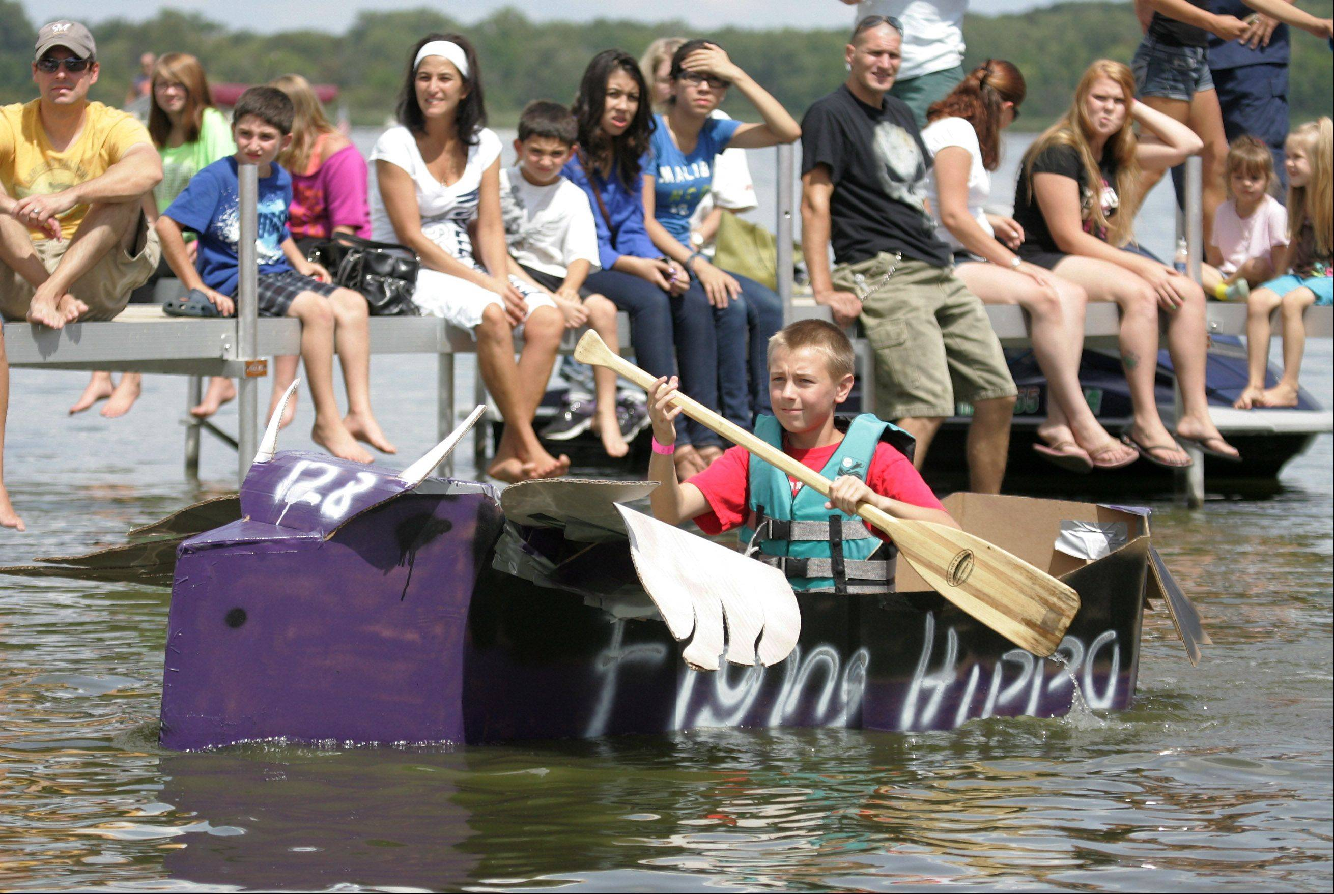 The annual Cardboard Cup Regatta Sunday at Lakefront Park sponsored by the Village of Fox Lake Parks and Recreation Department. Contestants built boats made strictly of cardboard, duct tape and paint and raced for medals and trophies.