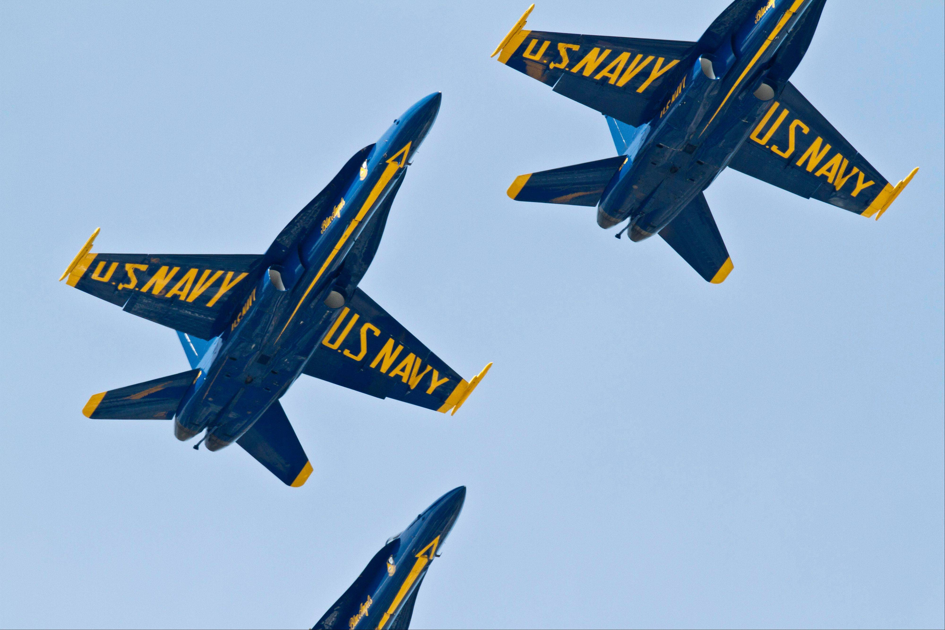 The U.S. Navy Blue Angels perform on the opening day of the Chicago Air and Water Show on Saturday, Aug. 18, 2012 in Chicago.